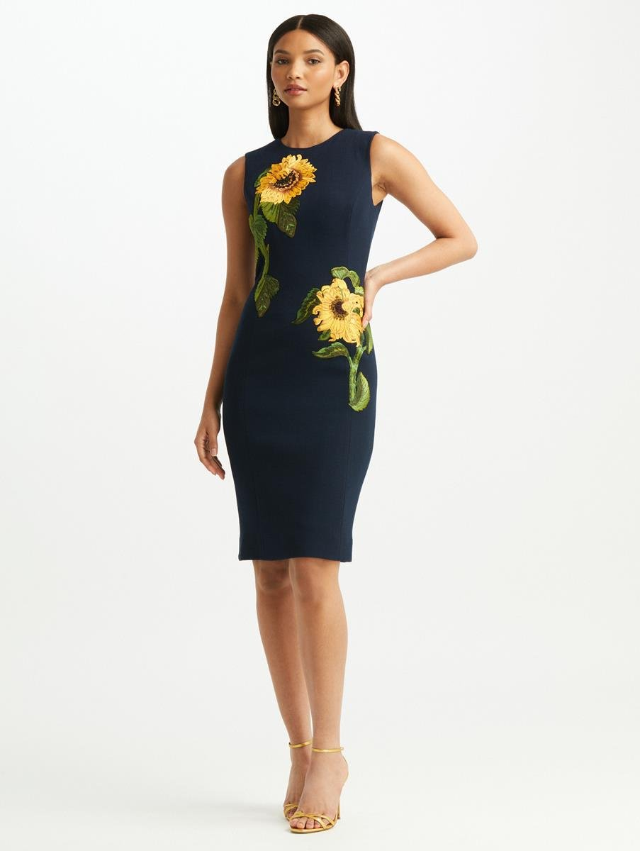 SUNFLOWER EMBROIDERED WOOL CREPE DRESS