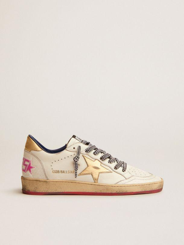 Ball Star LTD sneakers in white leather with gold laminated leather inserts