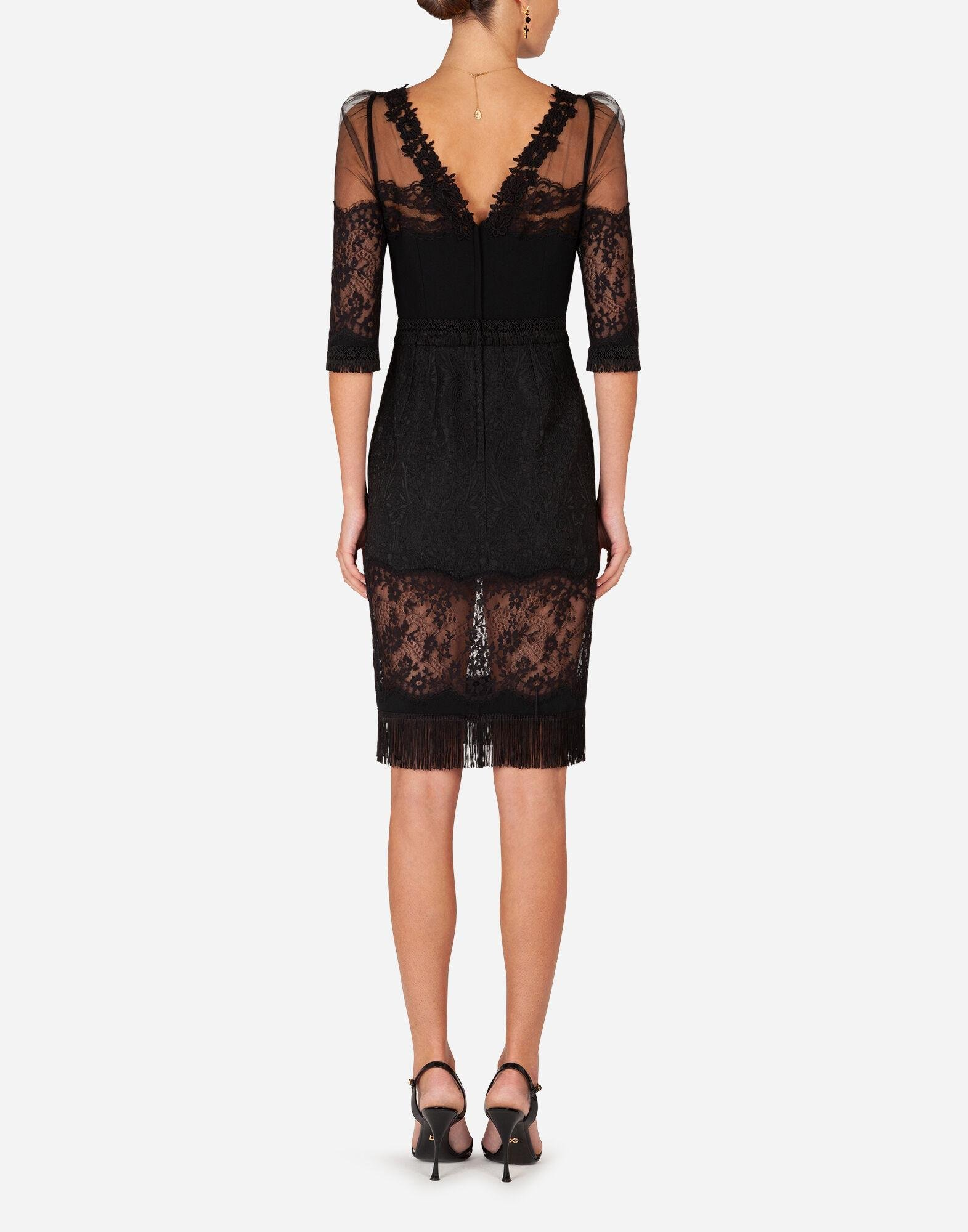 Cady and brocade midi dress with lace inserts 1