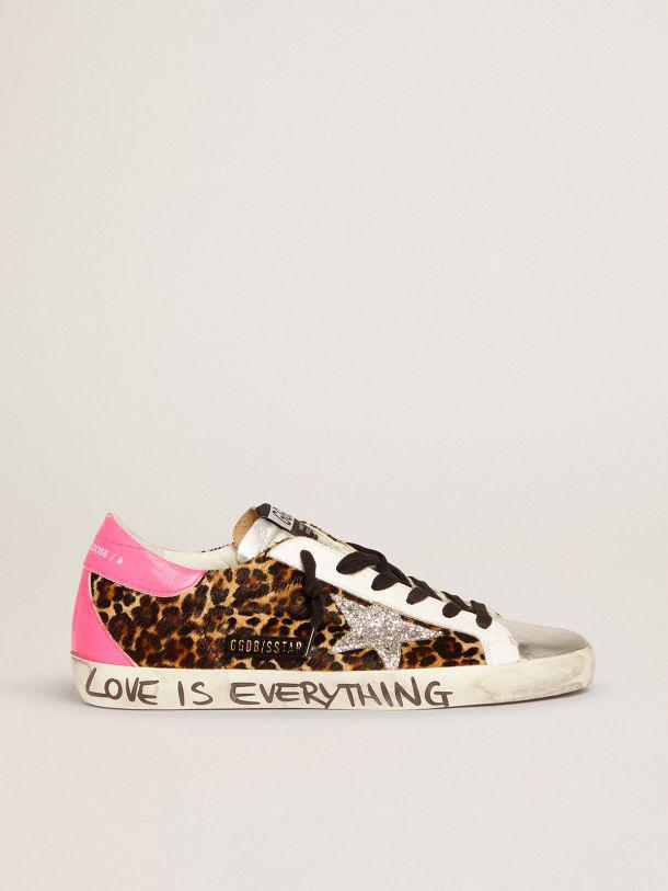 Super-Star sneakers in leopard-print pony skin with silver glitter star