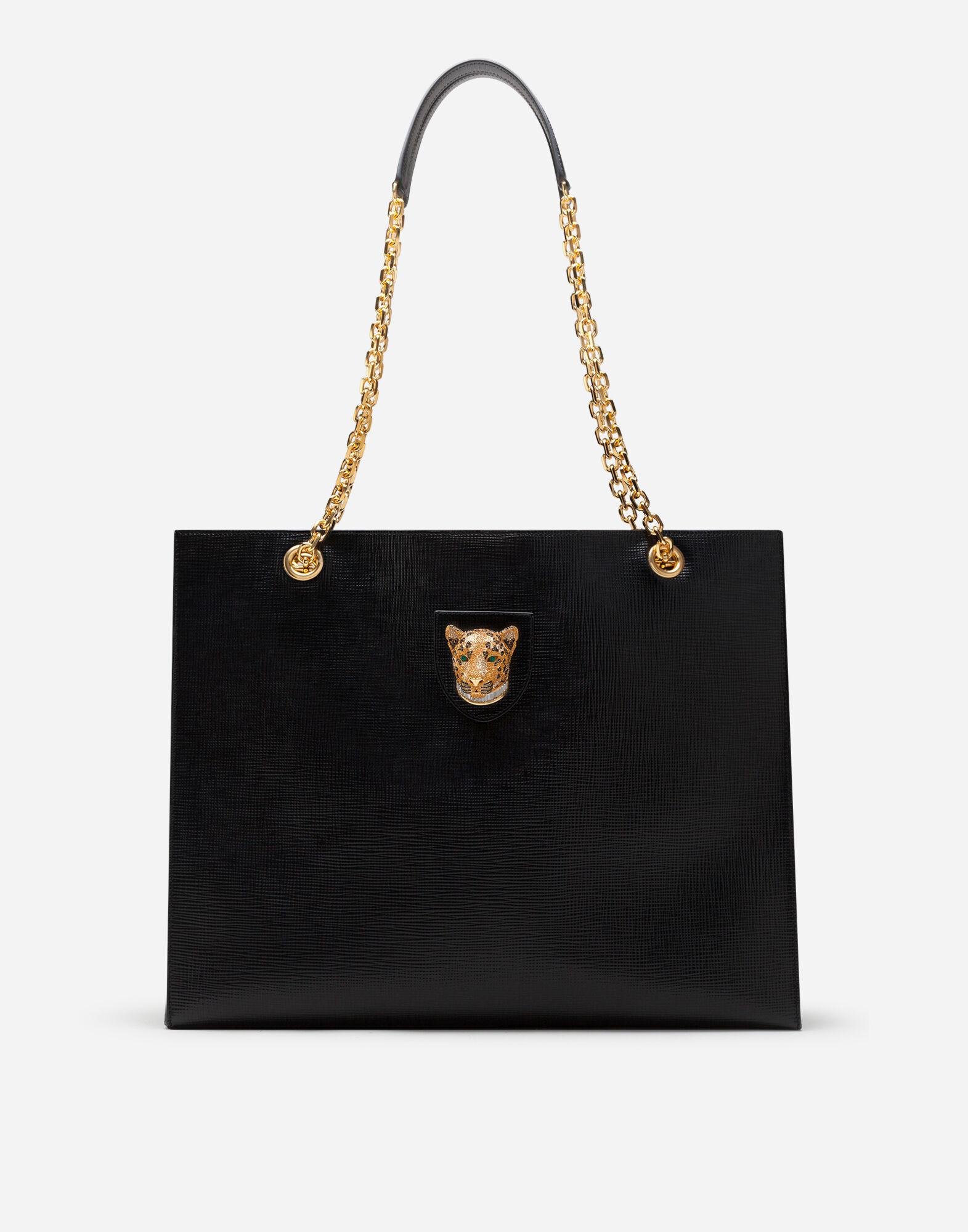 Large jungle bag in calfskin with jewel