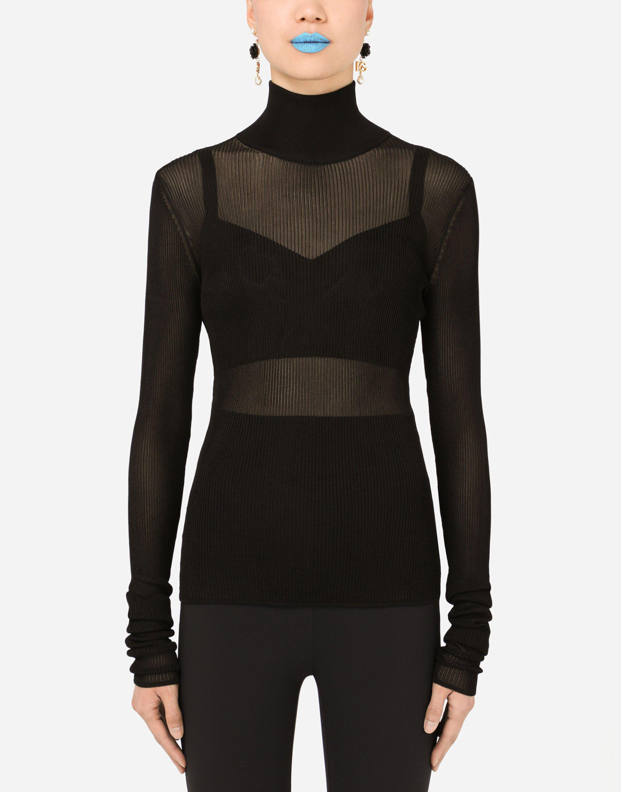 Ribbed viscose turtle-neck sweater