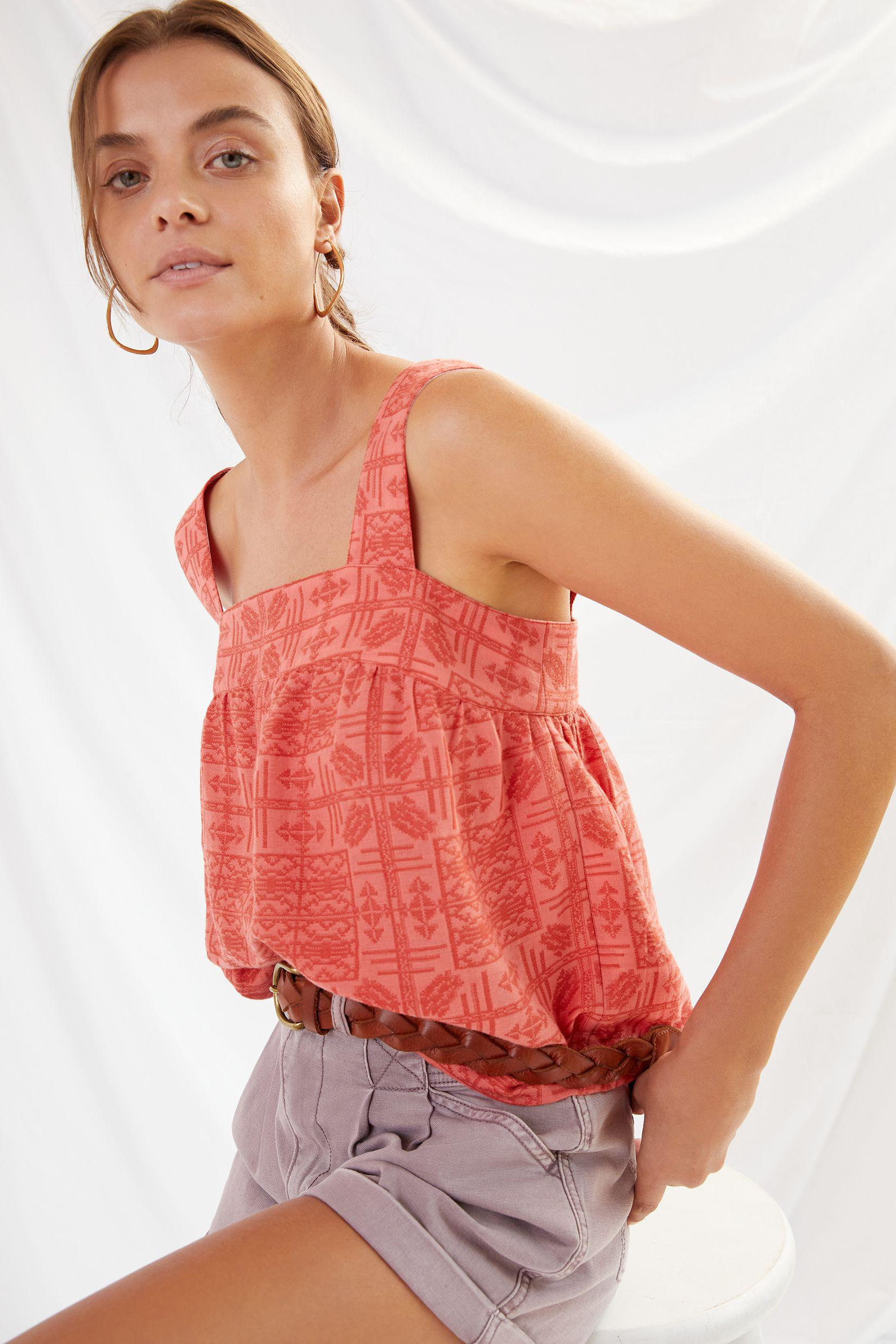 Embroidered Button-Back Tank