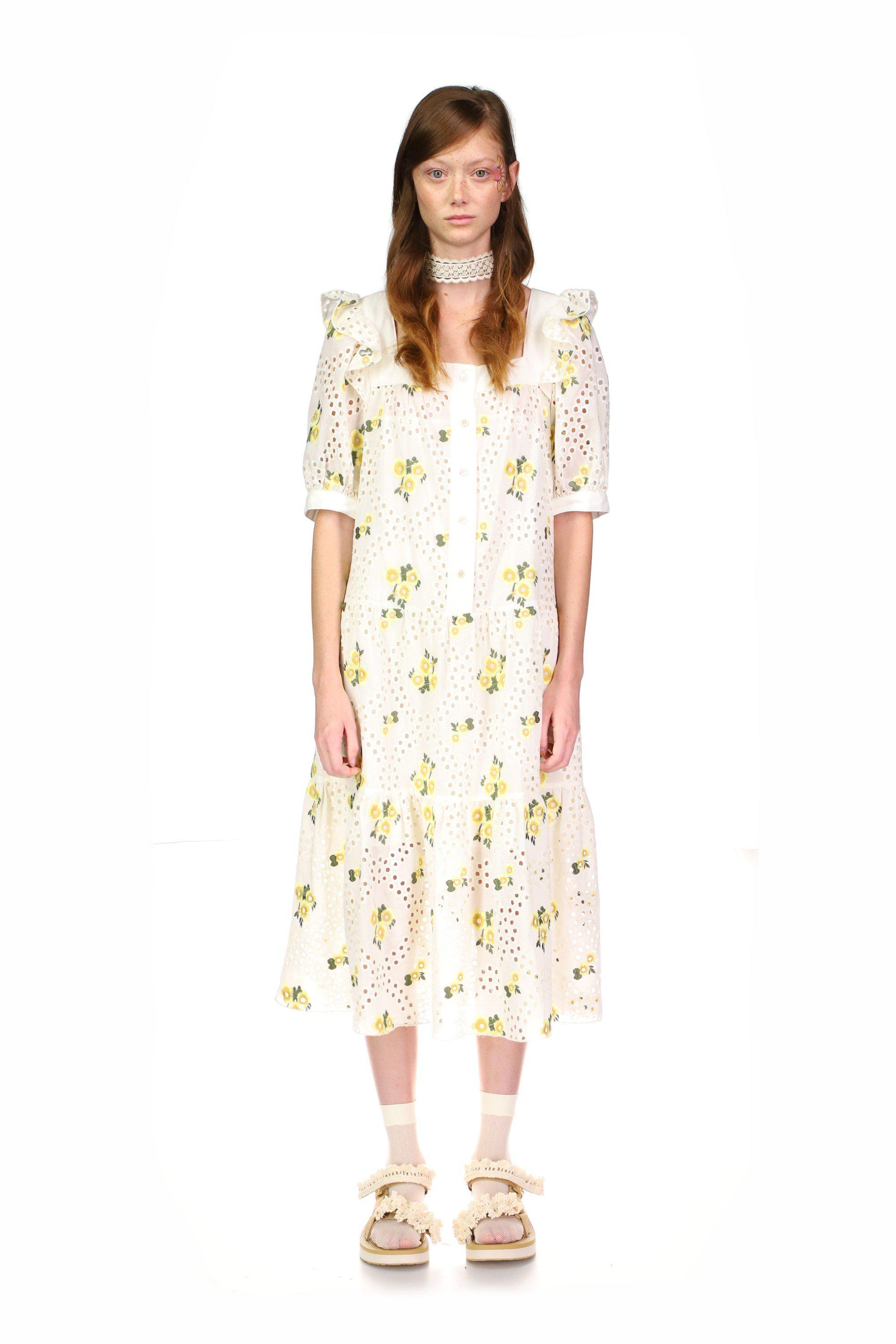 Pansy Eyelet Embroidered Puff Sleeve Dress