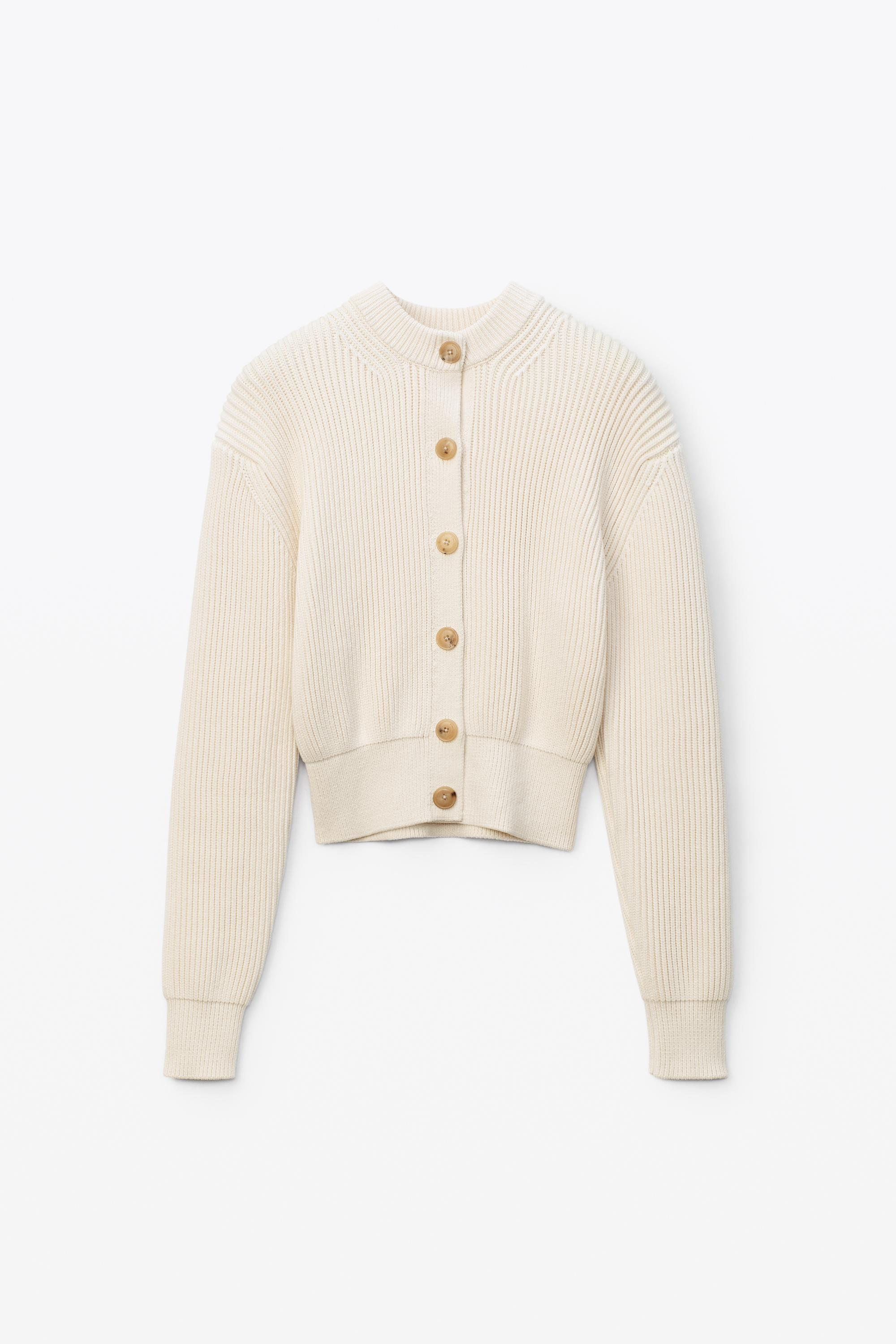 crewneck cardigan in ribbed cotton chainette 1