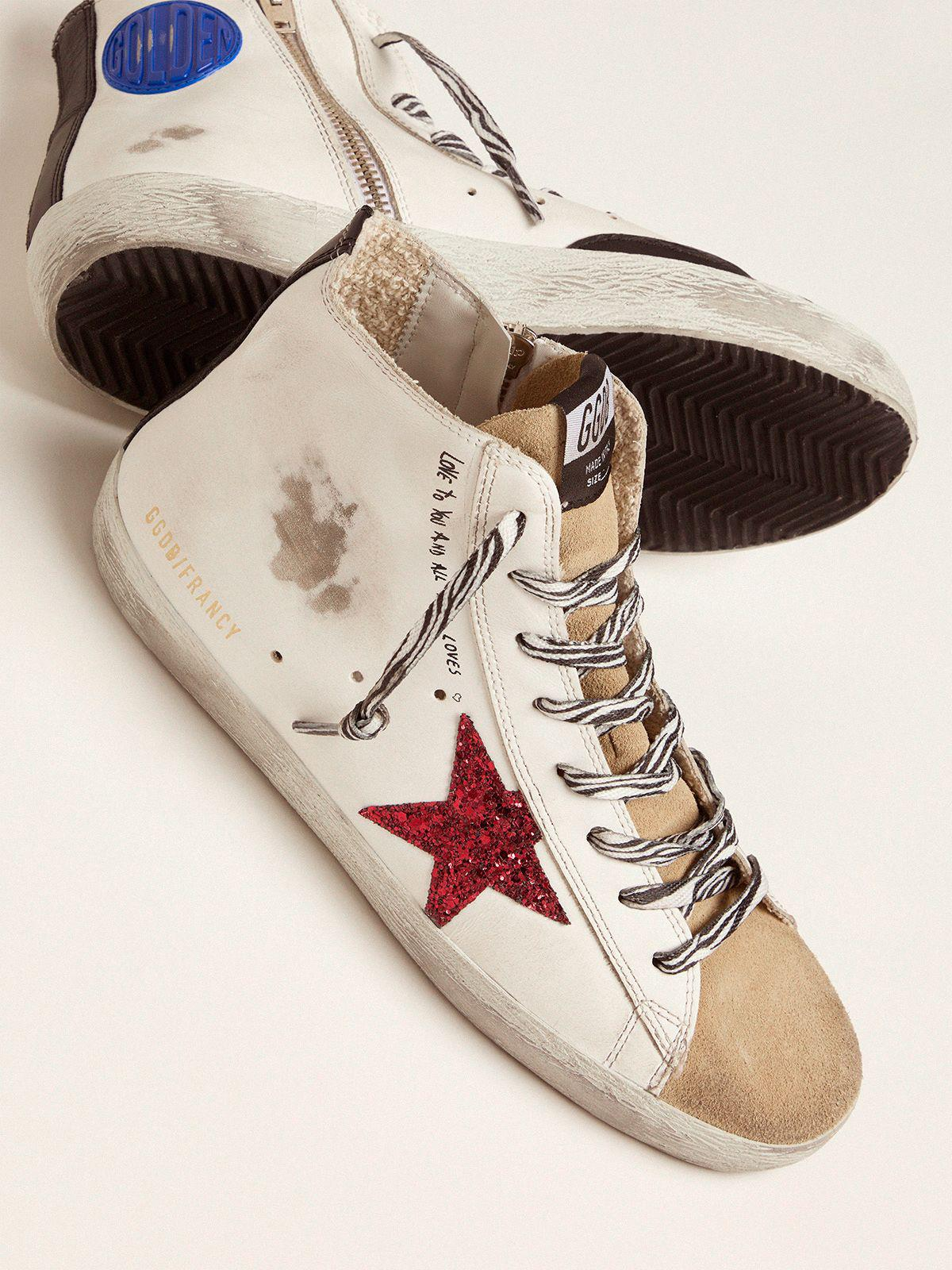 Francy sneakers with red glittery star and handwritten lettering 2