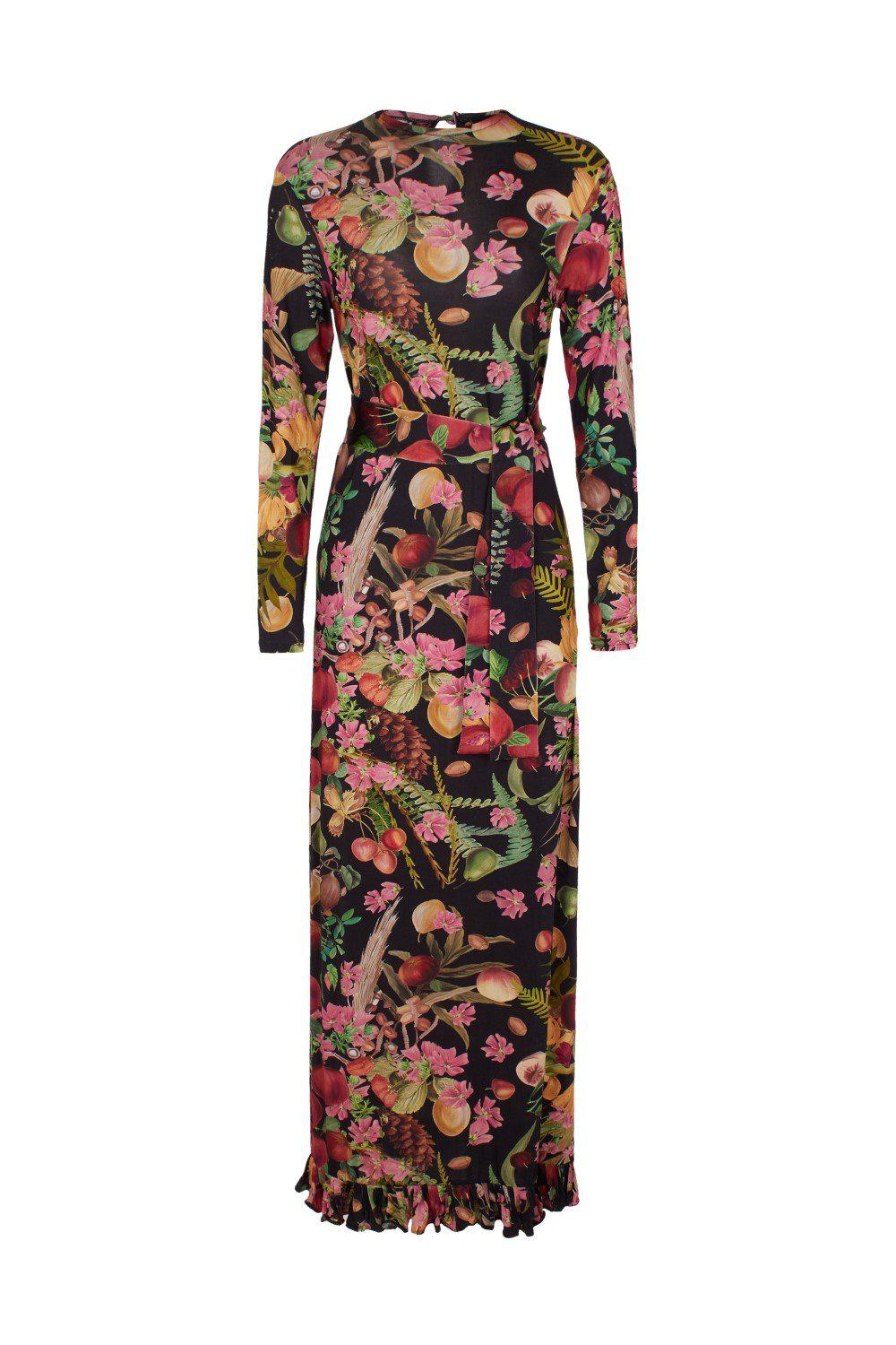 Fruits Exotiques Long Dress with Frills 2