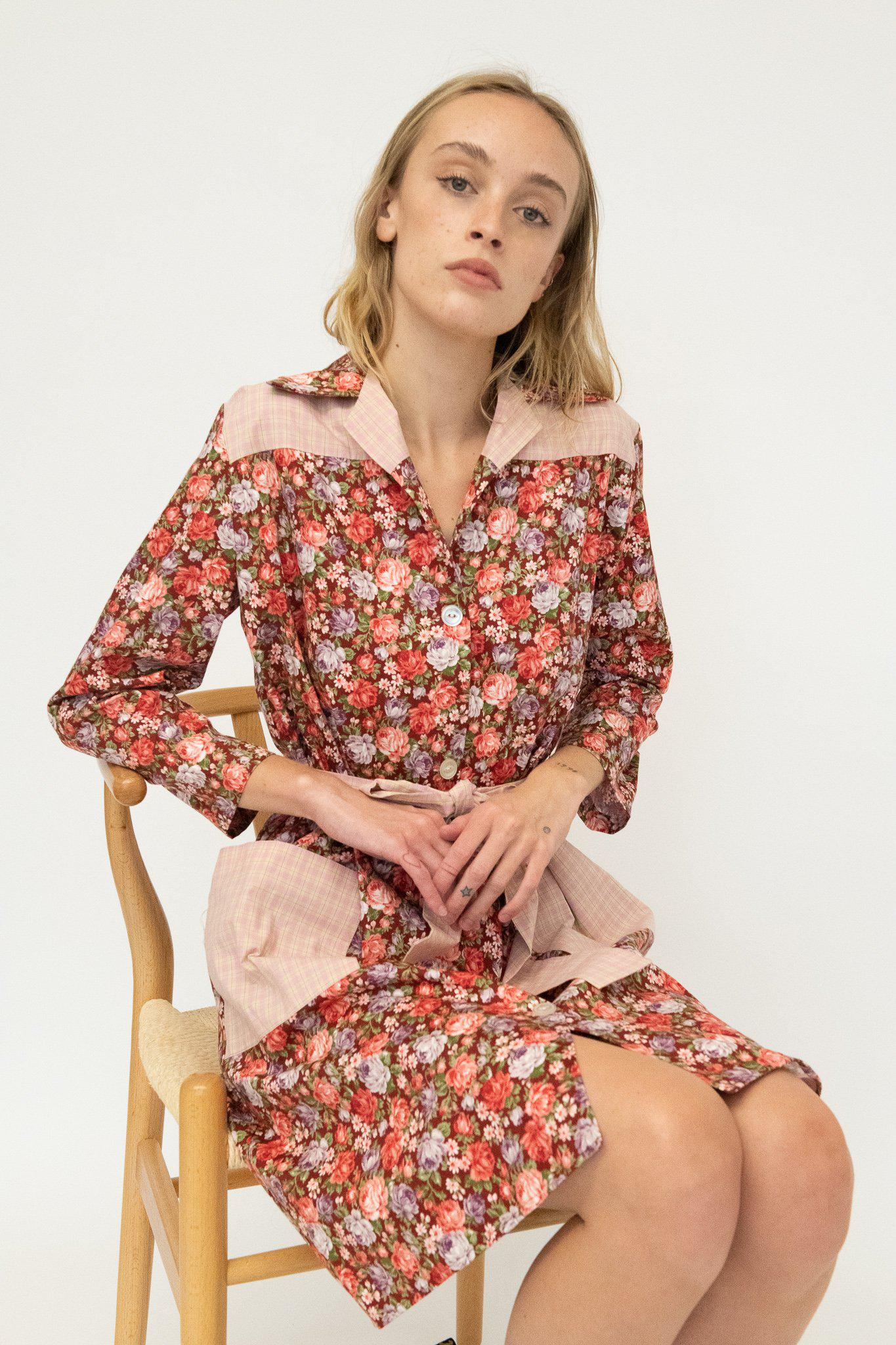 Long Sleeve Housedress in Cabernet Floral and Guava Tartan
