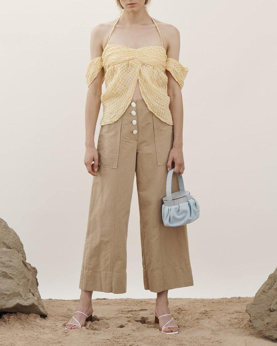 Jamie Blouse Linen Voile Check Yellow - SPECIAL PRICE