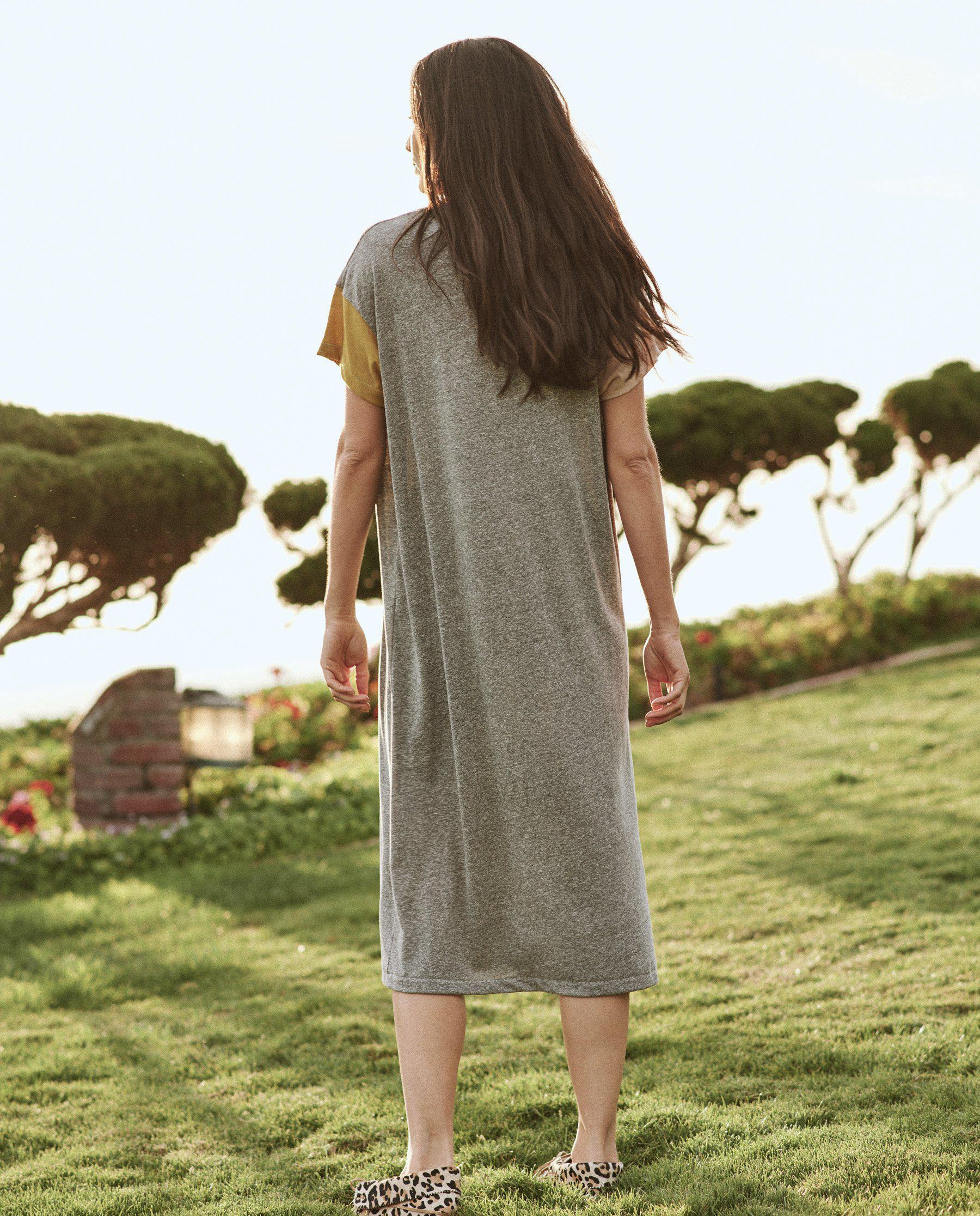 The Boxy Dress. -- Heather Grey with Multi Color Block 3