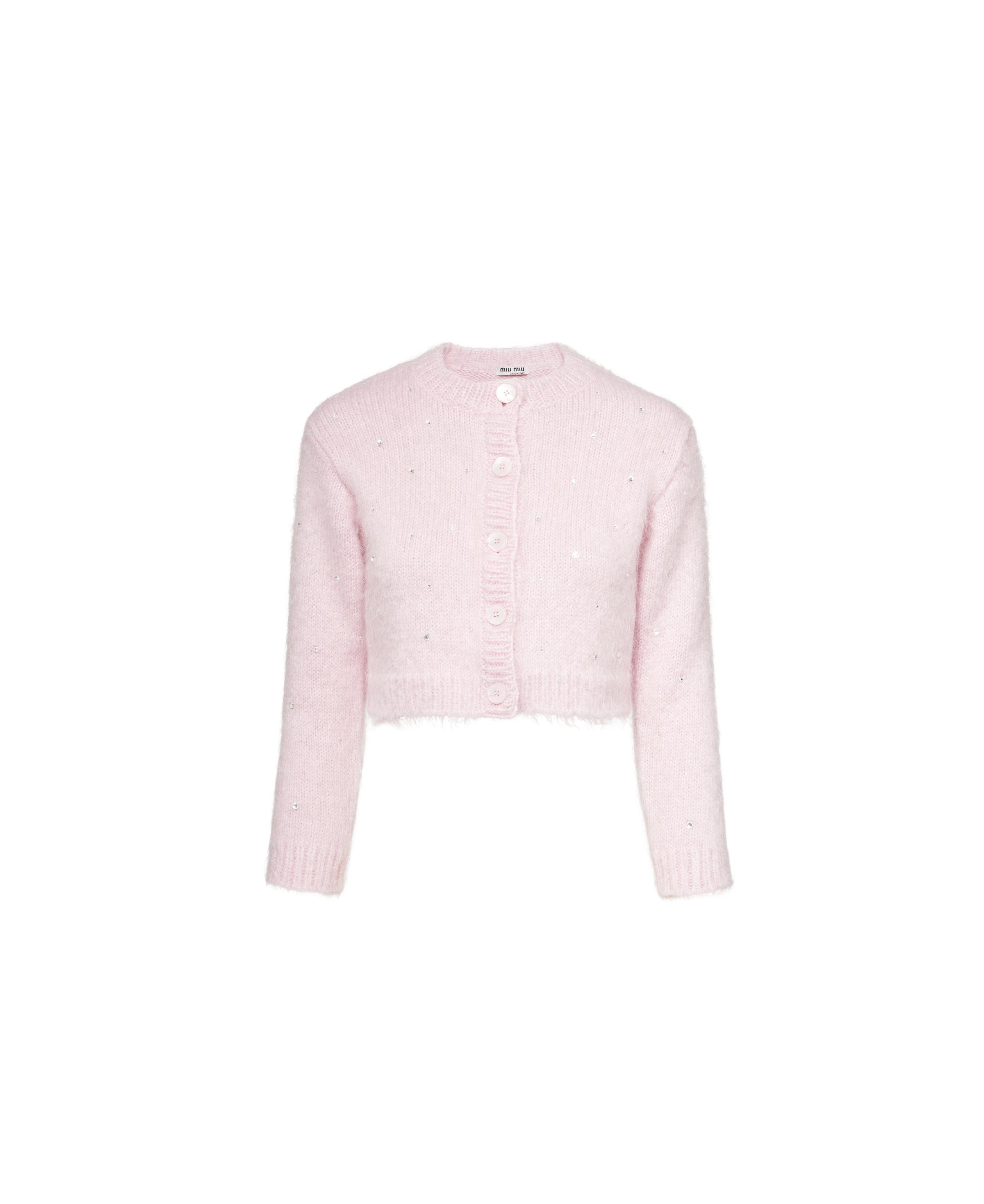 Embroidered Mohair Cardigan Women Pink
