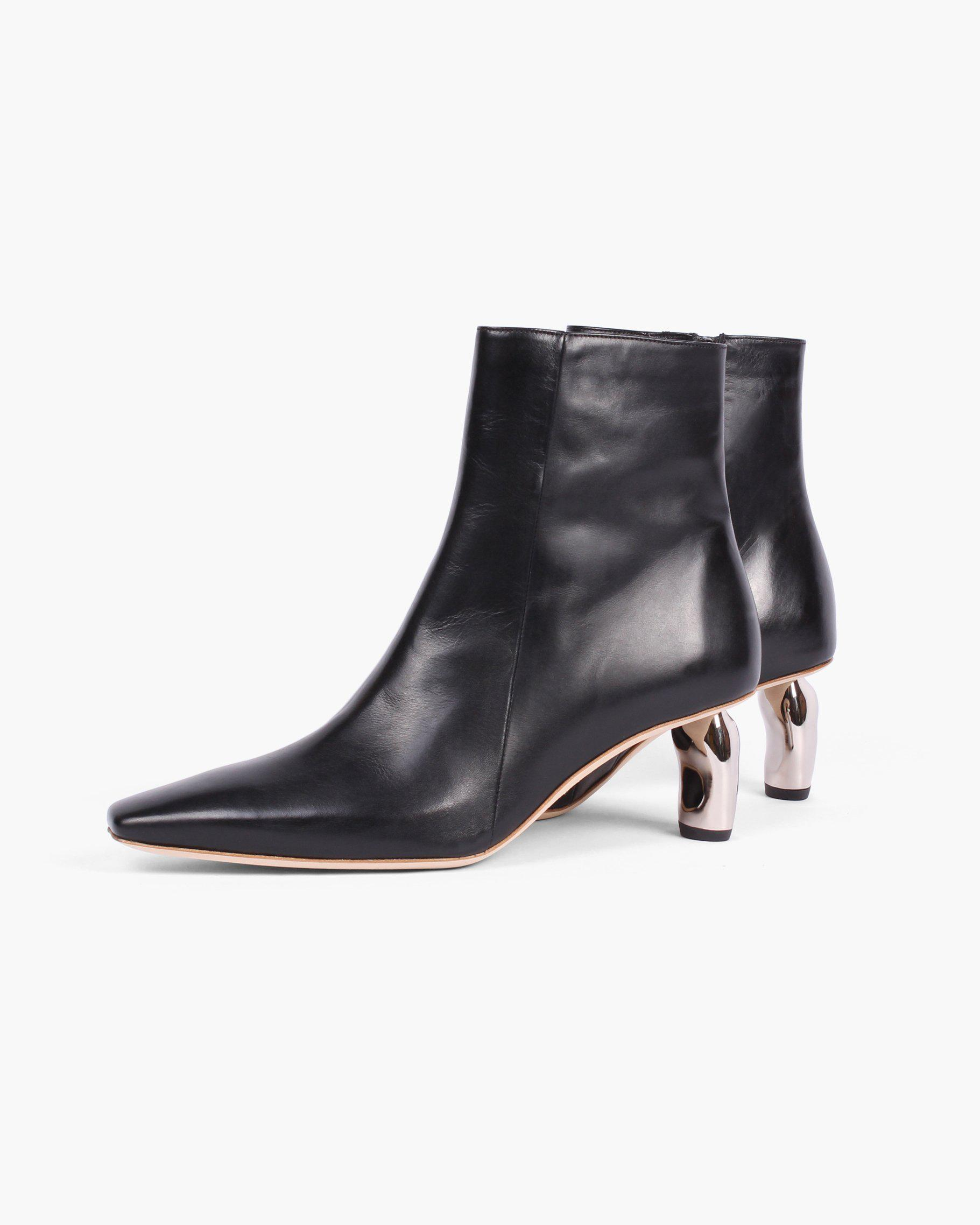 Annie Boots Leather Black with Silver Heels - SALE 2