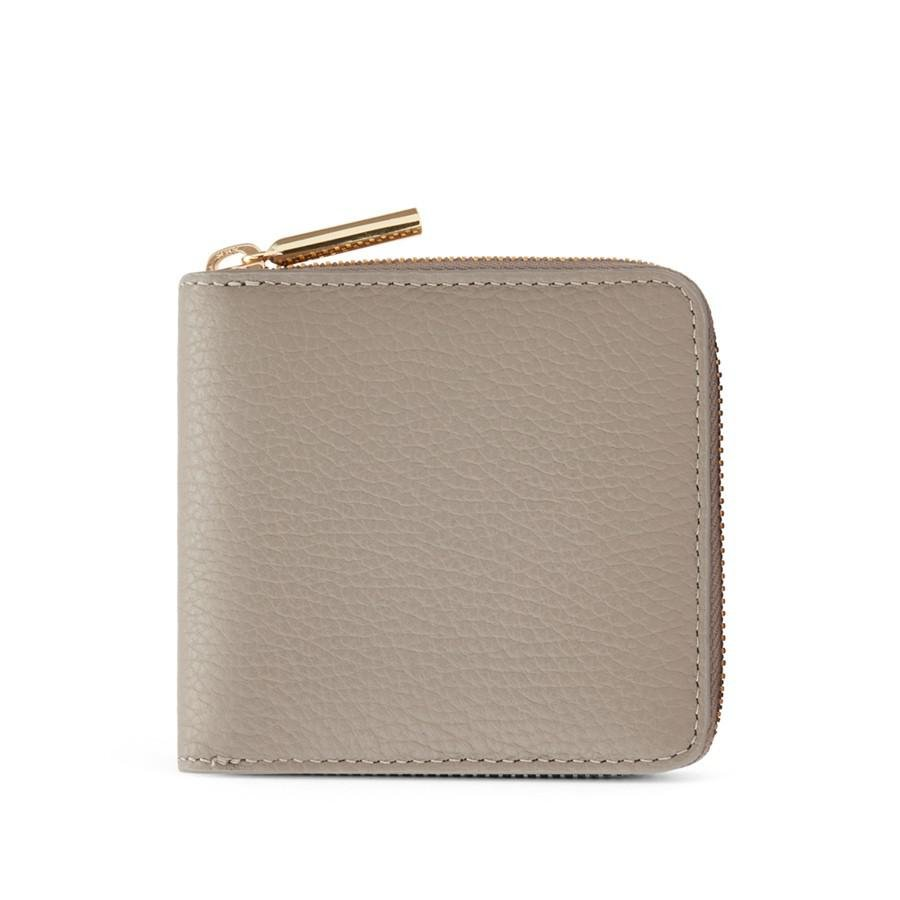 Women's Small Classic Zip Around Wallet in Stone | Pebbled Leather by Cuyana