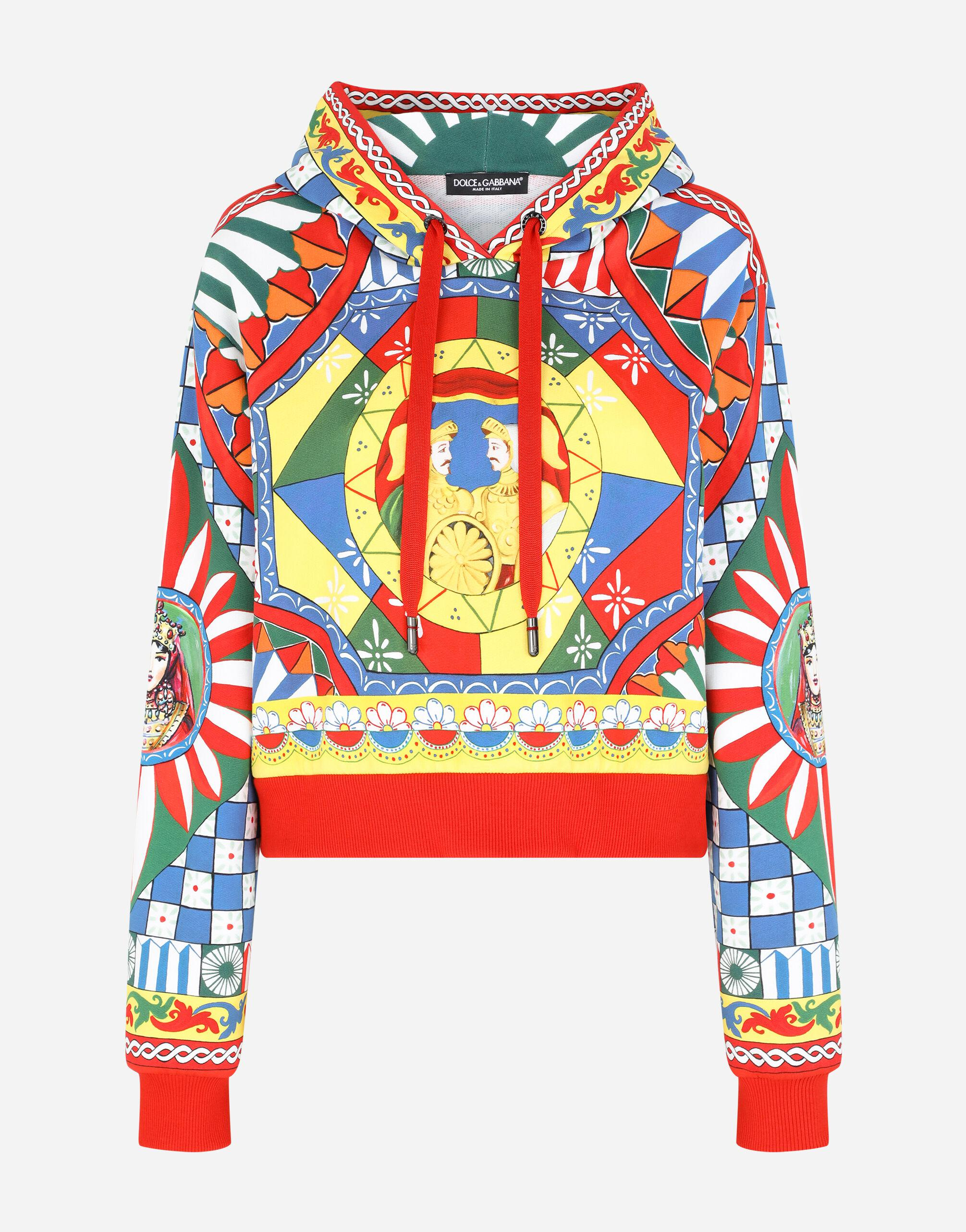 Cropped jersey hoodie with Carretto print 5