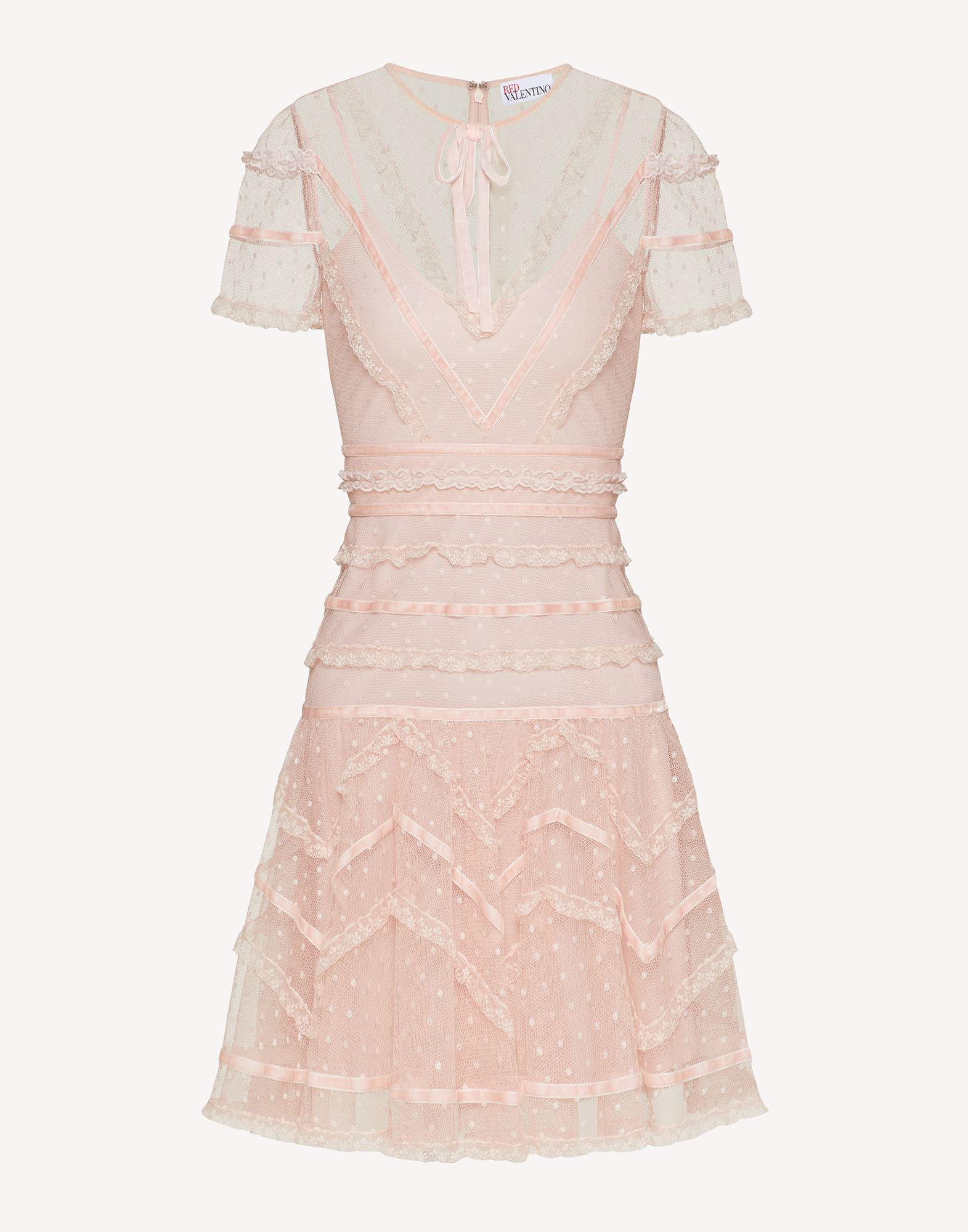 POINT D'ESPRIT TULLE DRESS WITH LACE AND VELVET RIBBONS 4