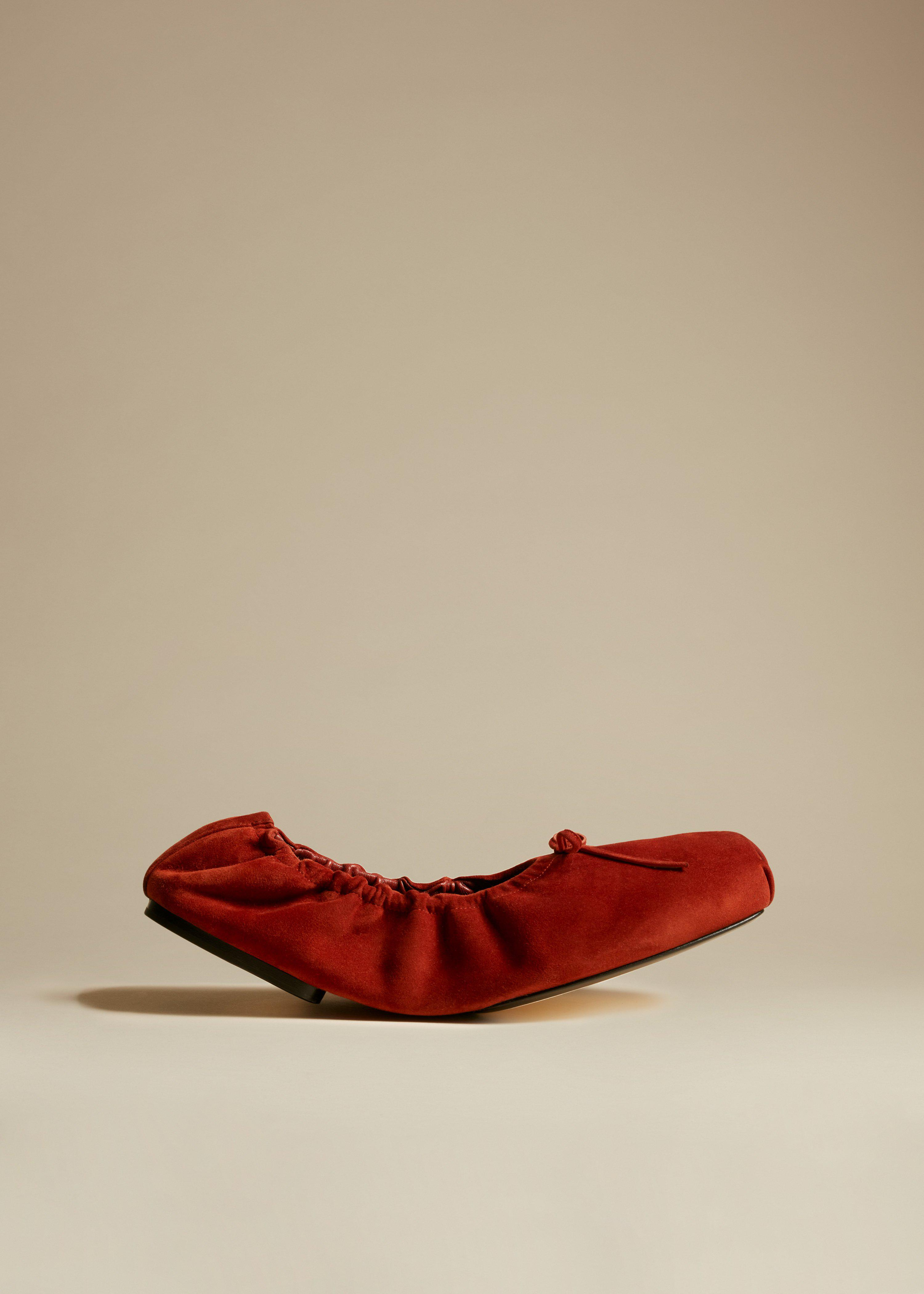 The Ashland Ballet Flat in Rust Suede