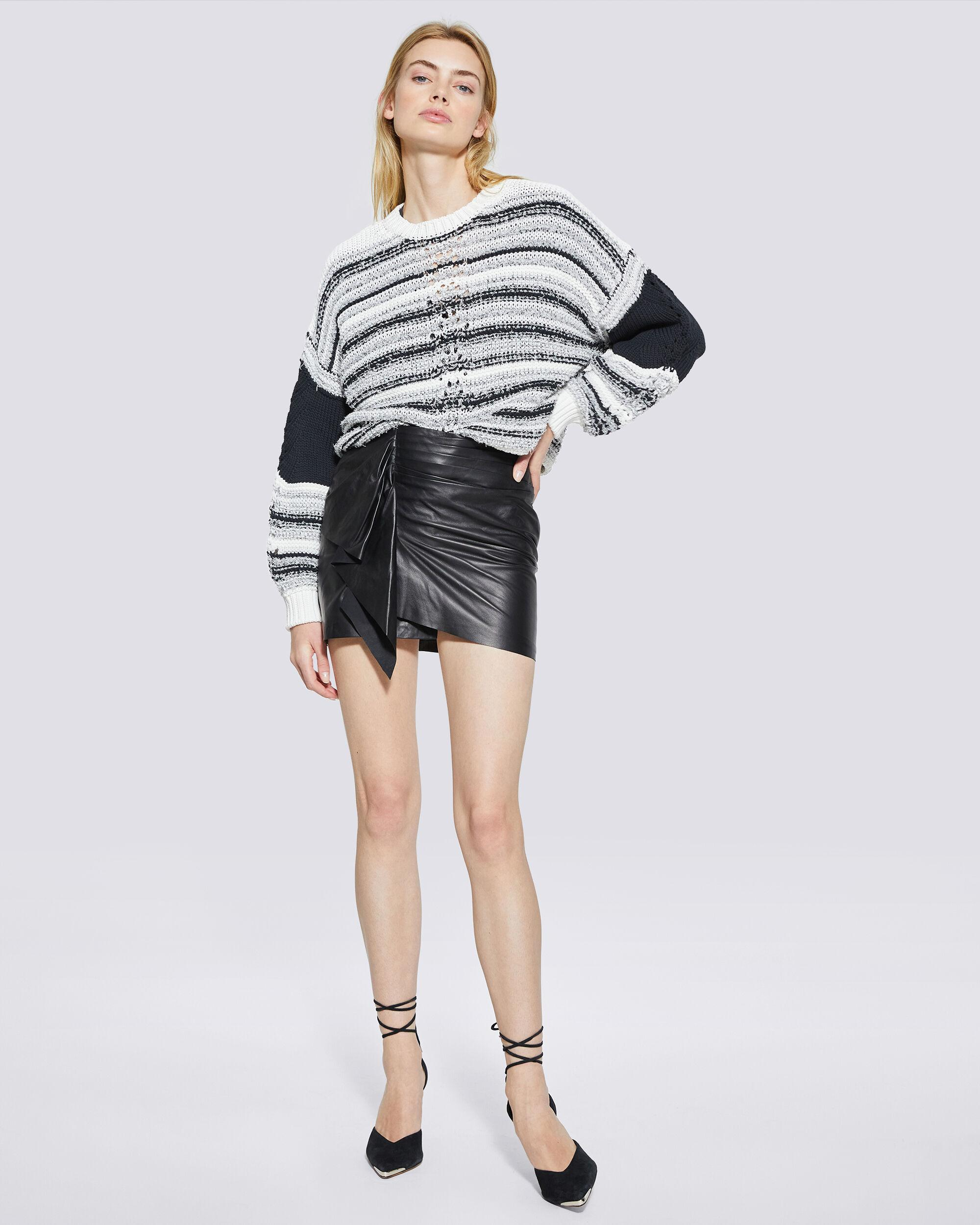 PEGGIE STRIPED TEXTURED KNIT SWEATER
