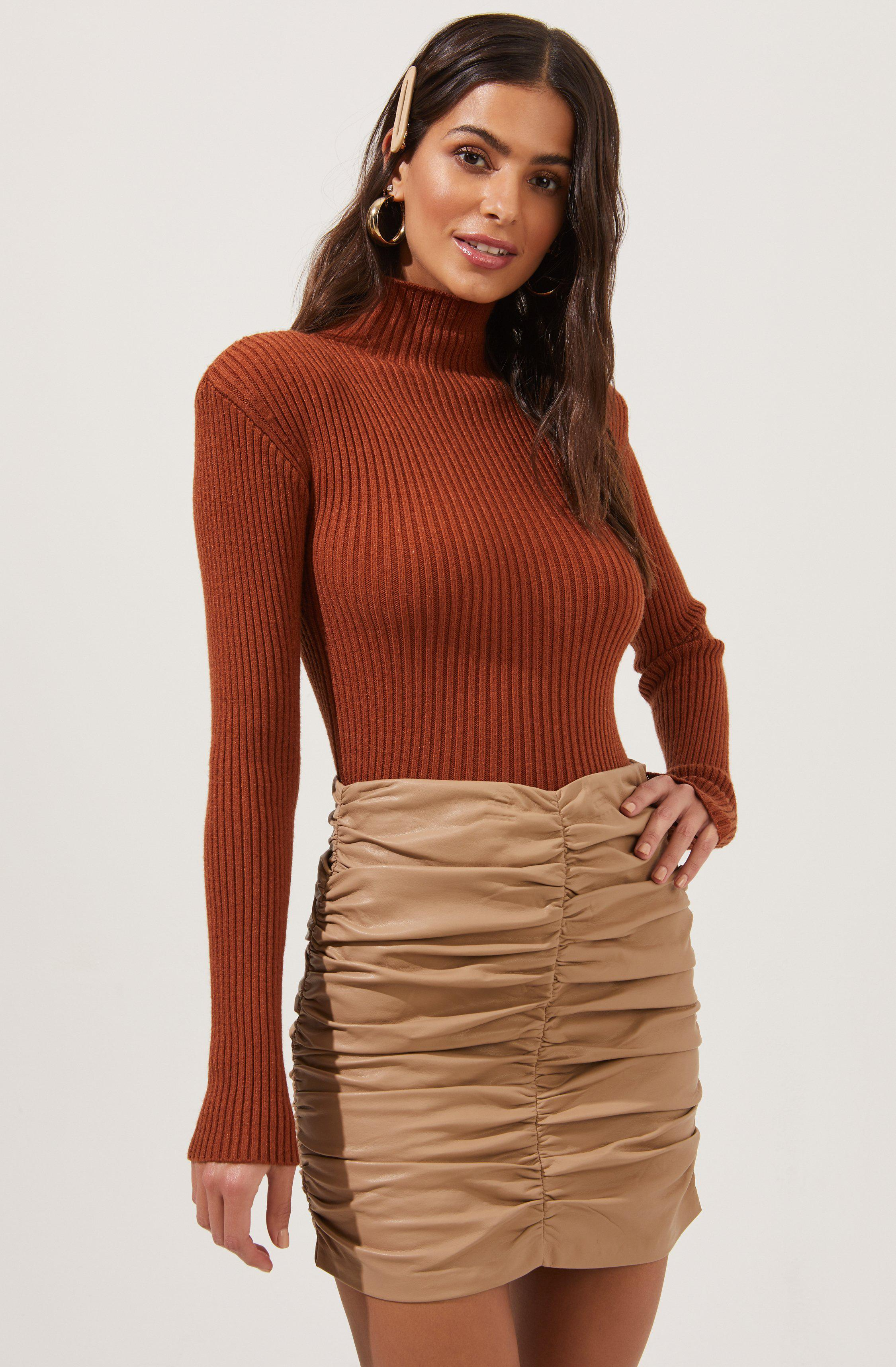 Roselle Faux Leather Ruched Mini Skirt