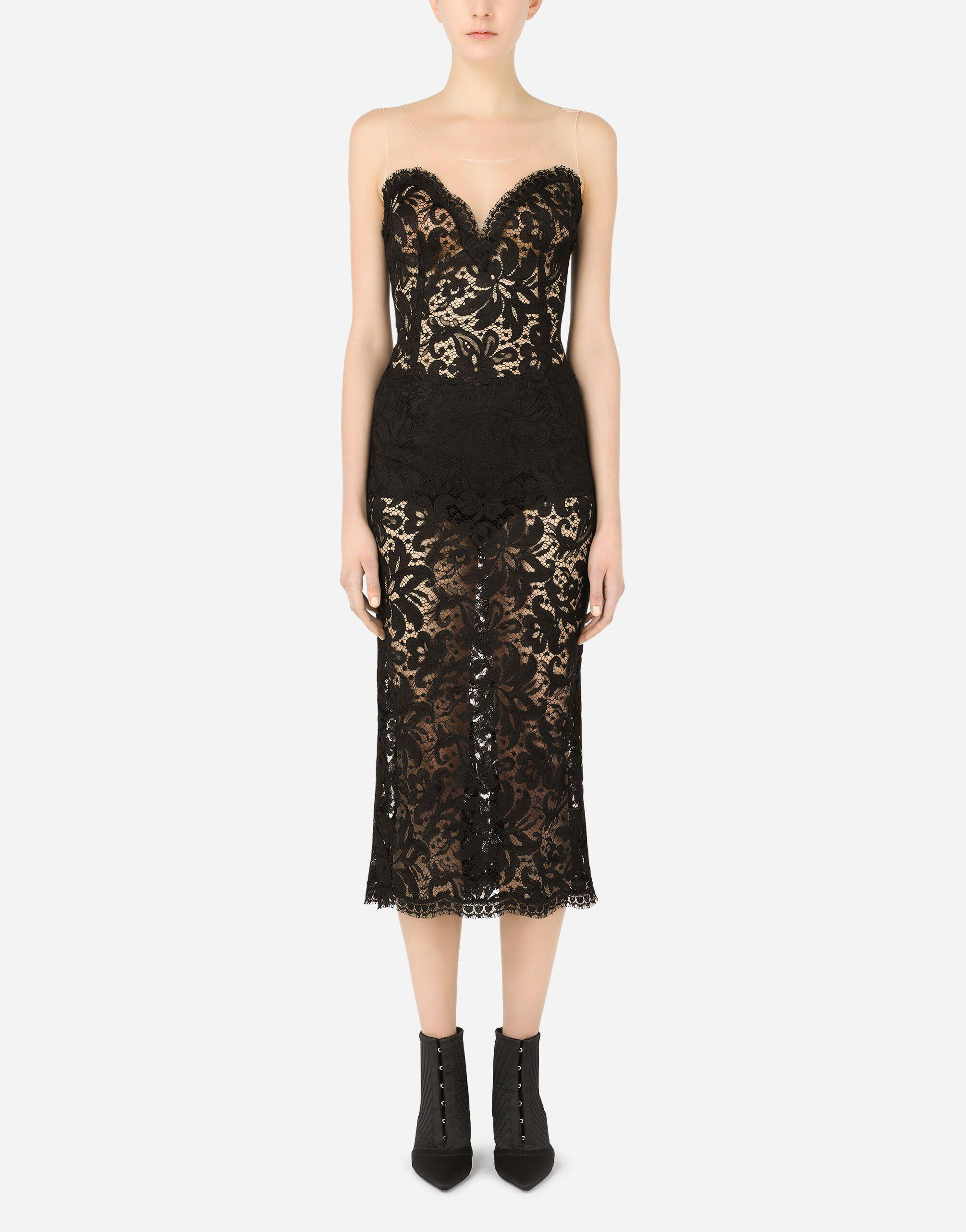 Sleeveless lace and tulle calf-length dress
