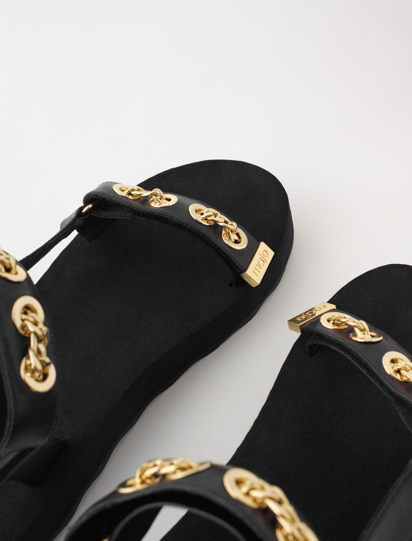 LEATHER SANDALS WITH EYELETS AND CHAIN 5