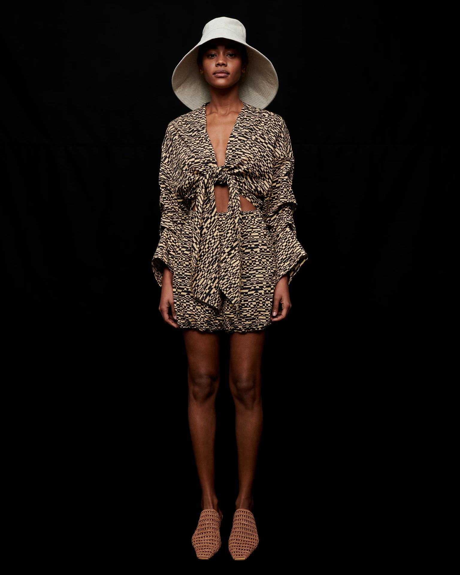 PEARL - Printed cotton-voile playsuit - Optic Wave