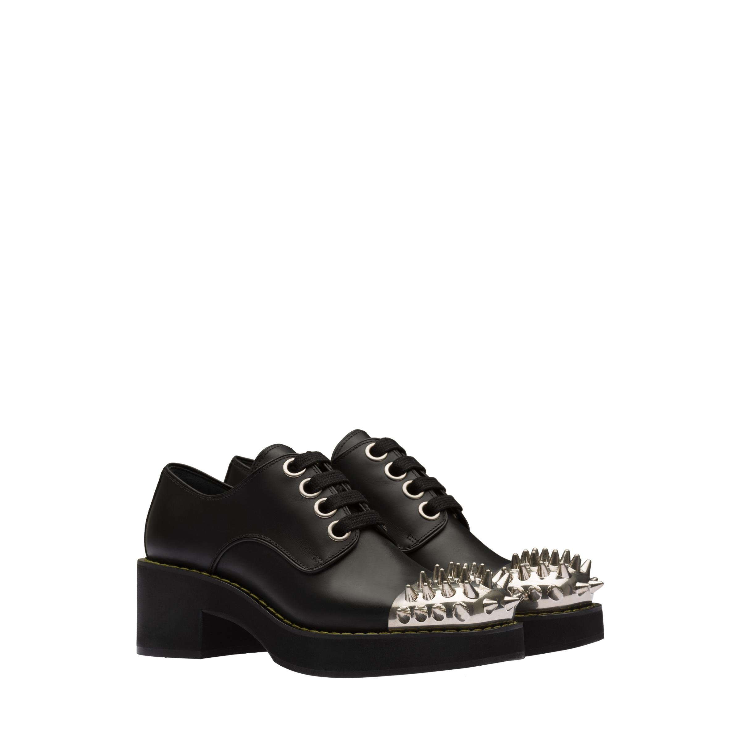 Studded Leather Laced Derby Shoes Women Black