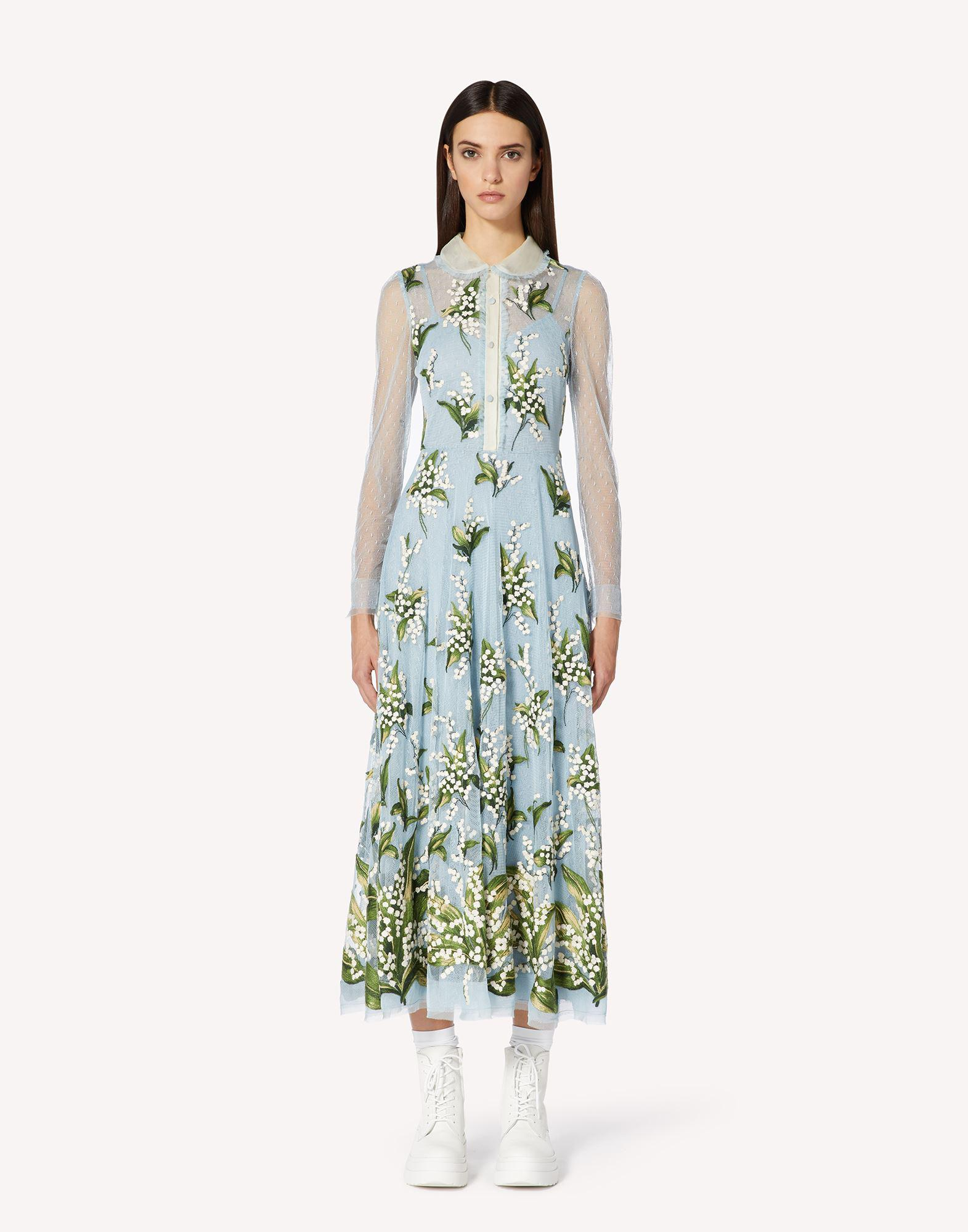 MAY LILY EMBROIDERED POINT D'ESPRIT TULLE DRESS
