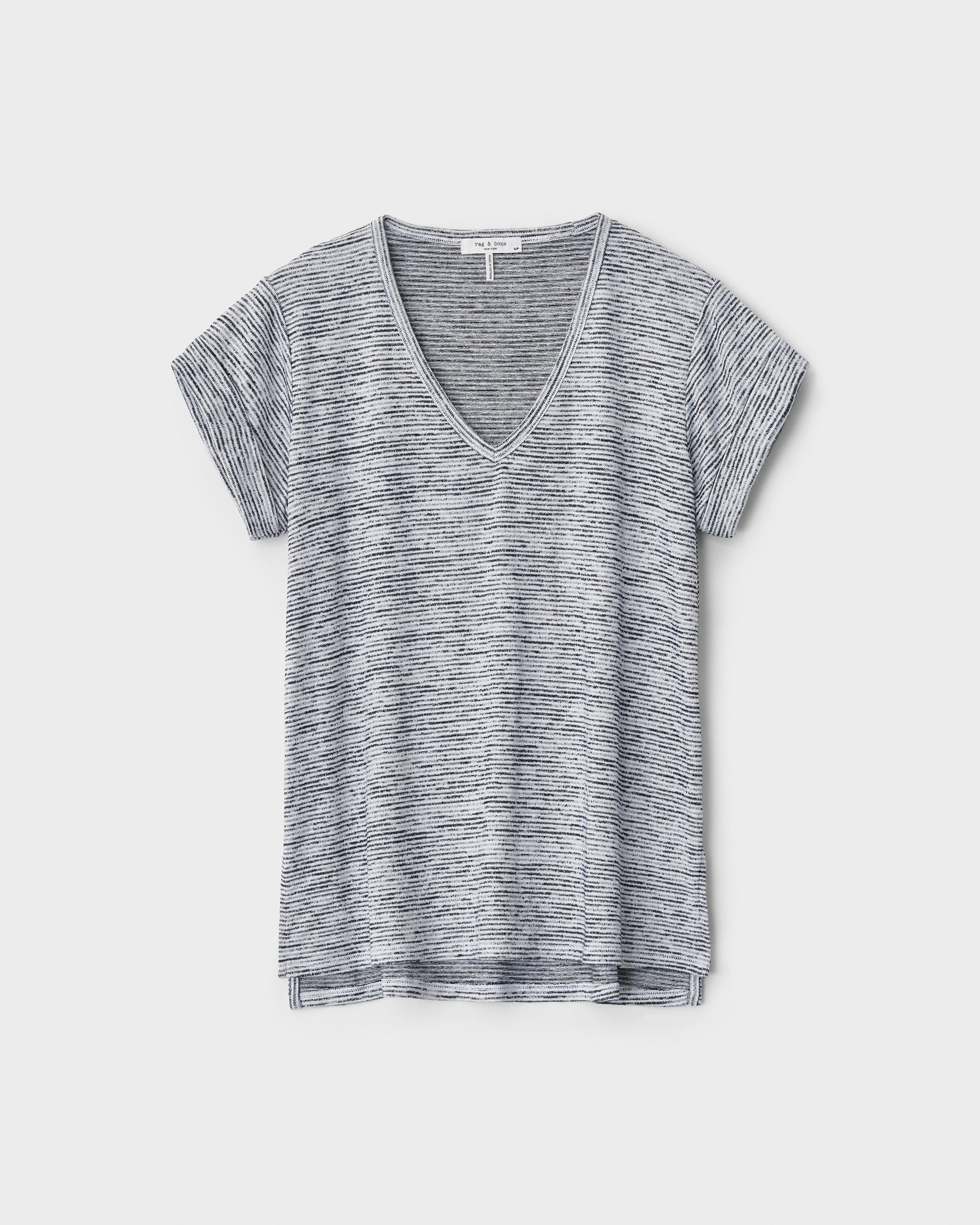The knit v-neck striped tee 4