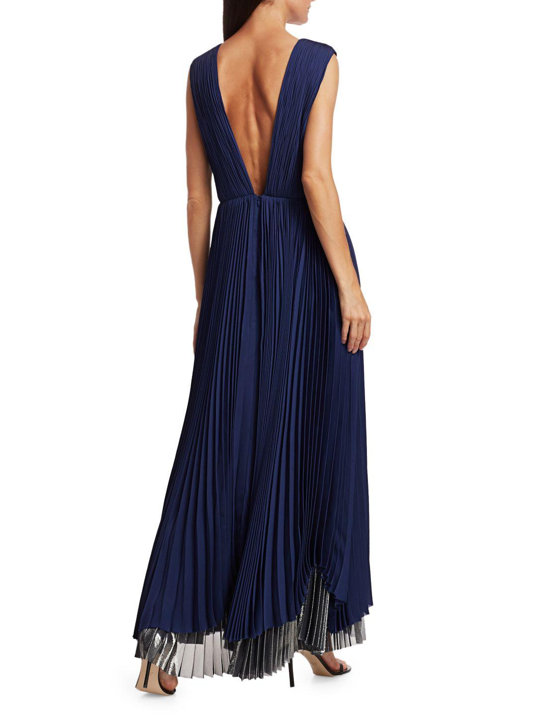 PLEATED METALLIC GOWN 3