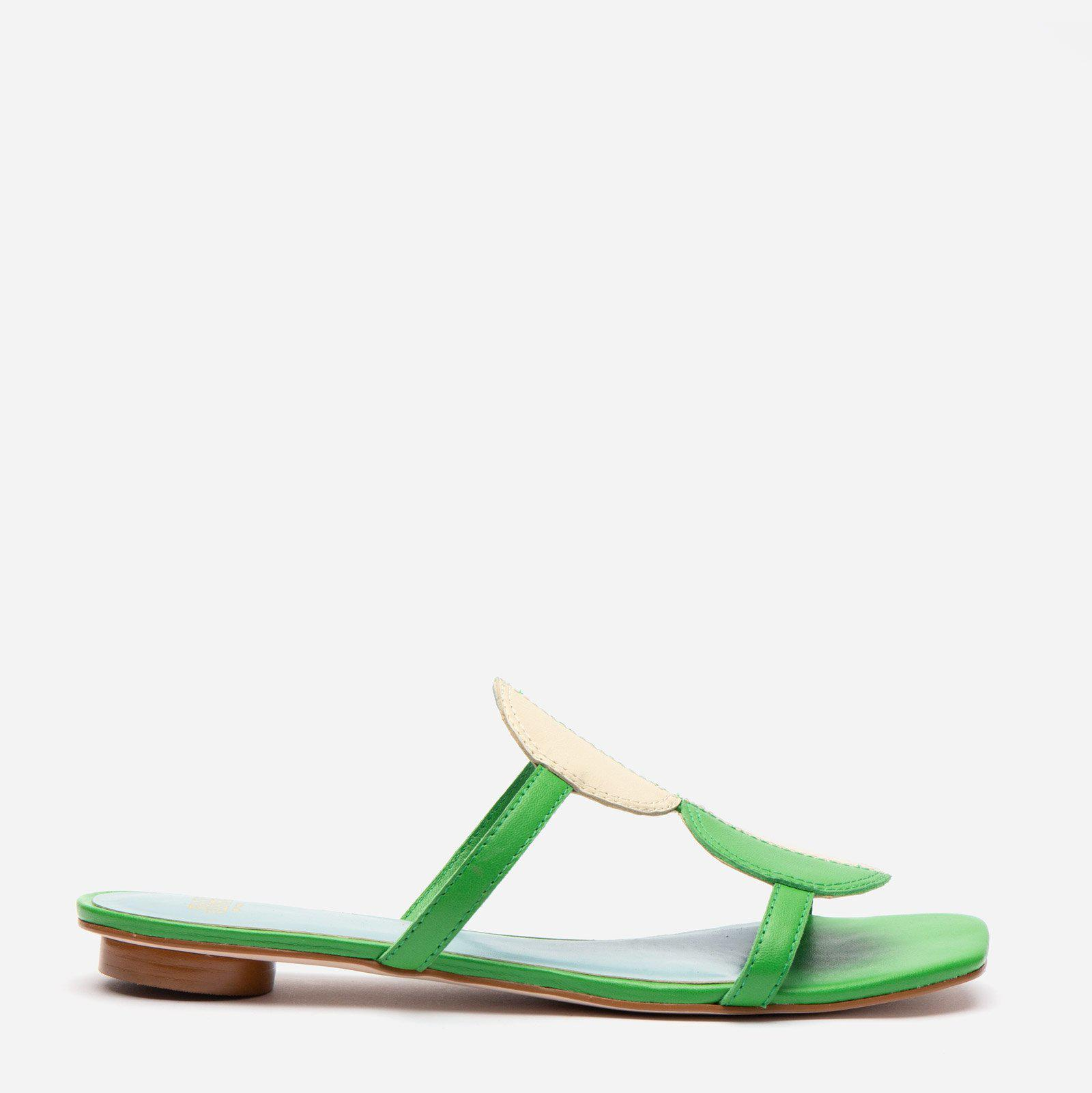 Double Circle Slide Colorblock Green Oyster 1