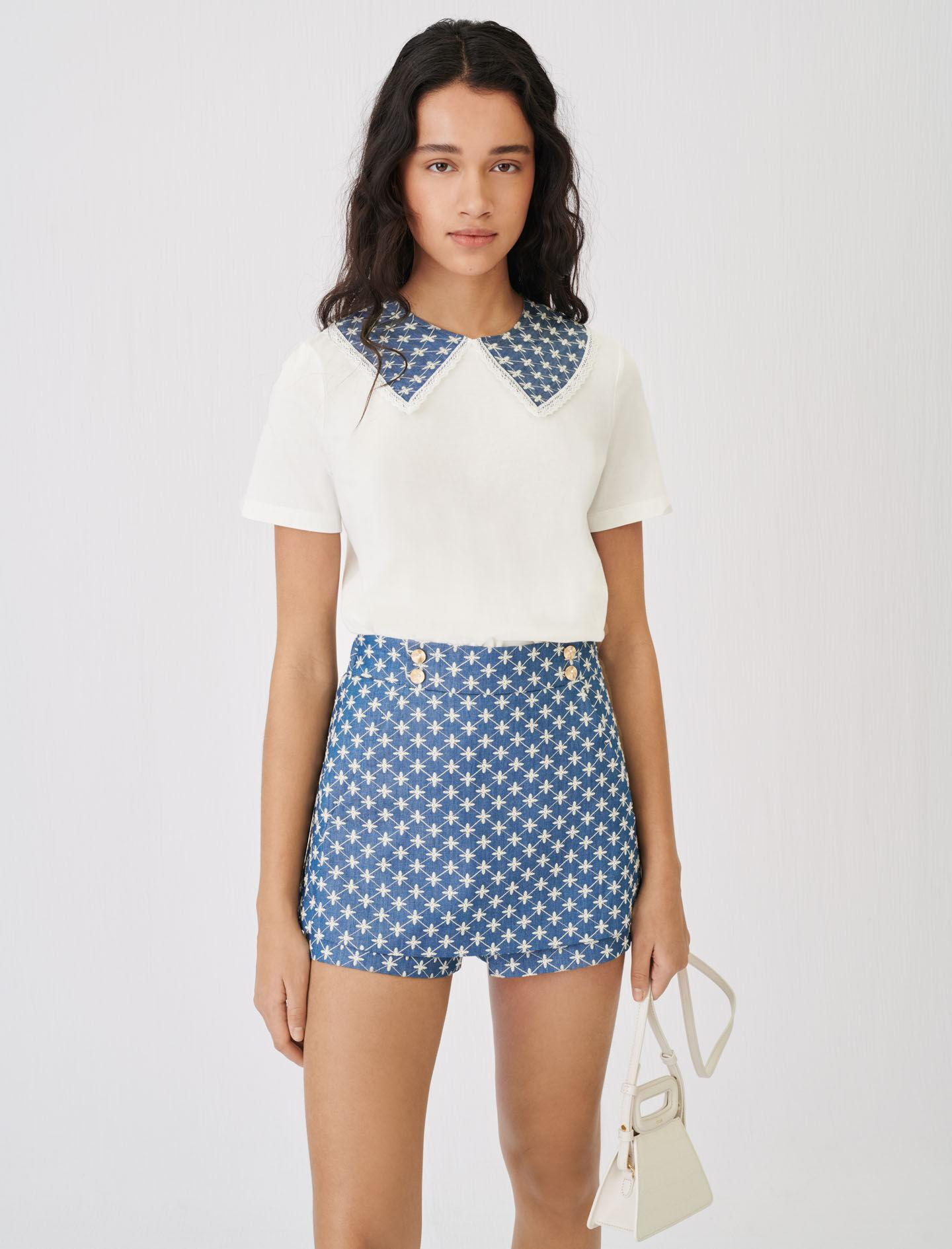 JERSEY T-SHIRT WITH EMBROIDERED COLLAR 1