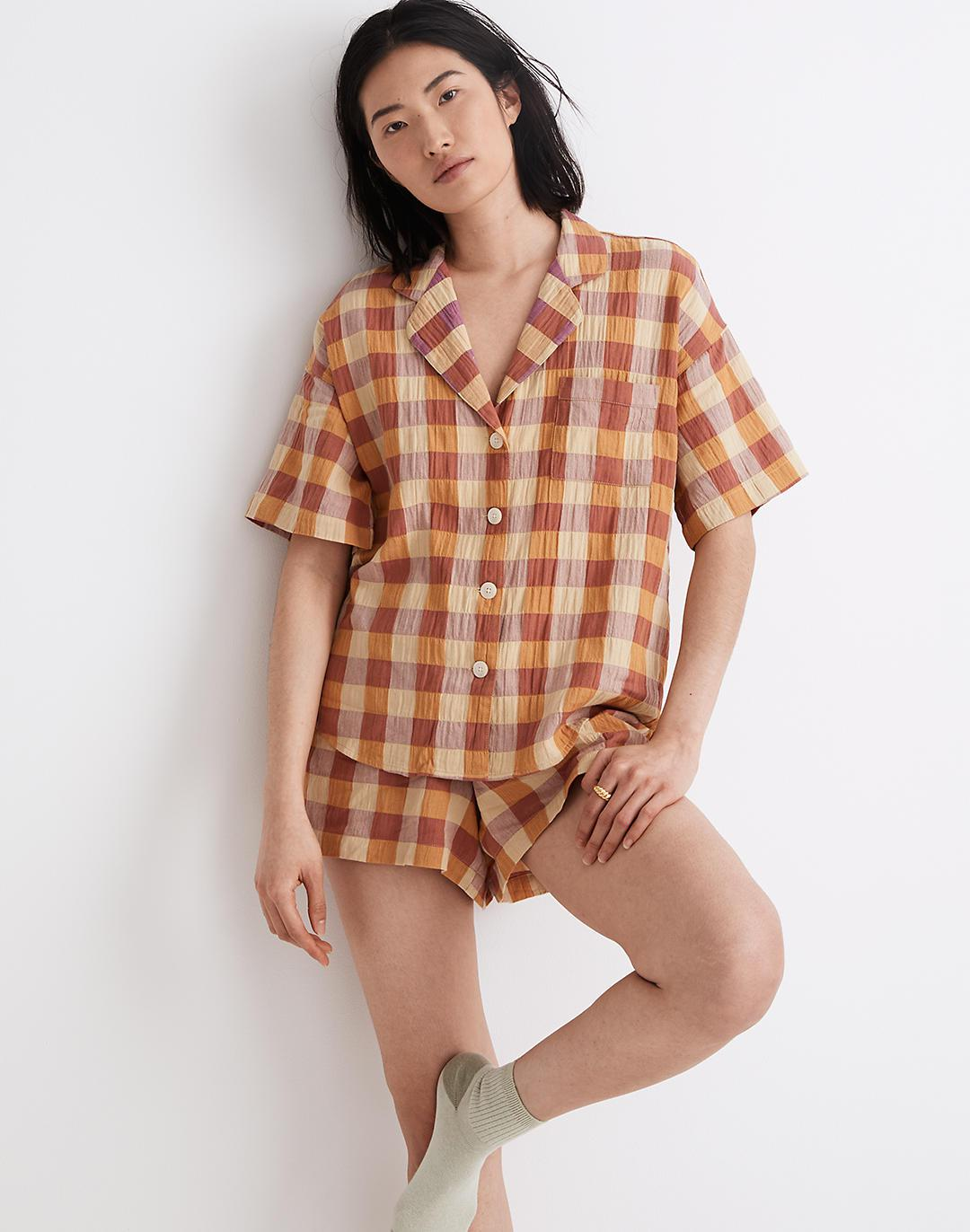 Crinkle Oversized Pajama Top in Gingham Check