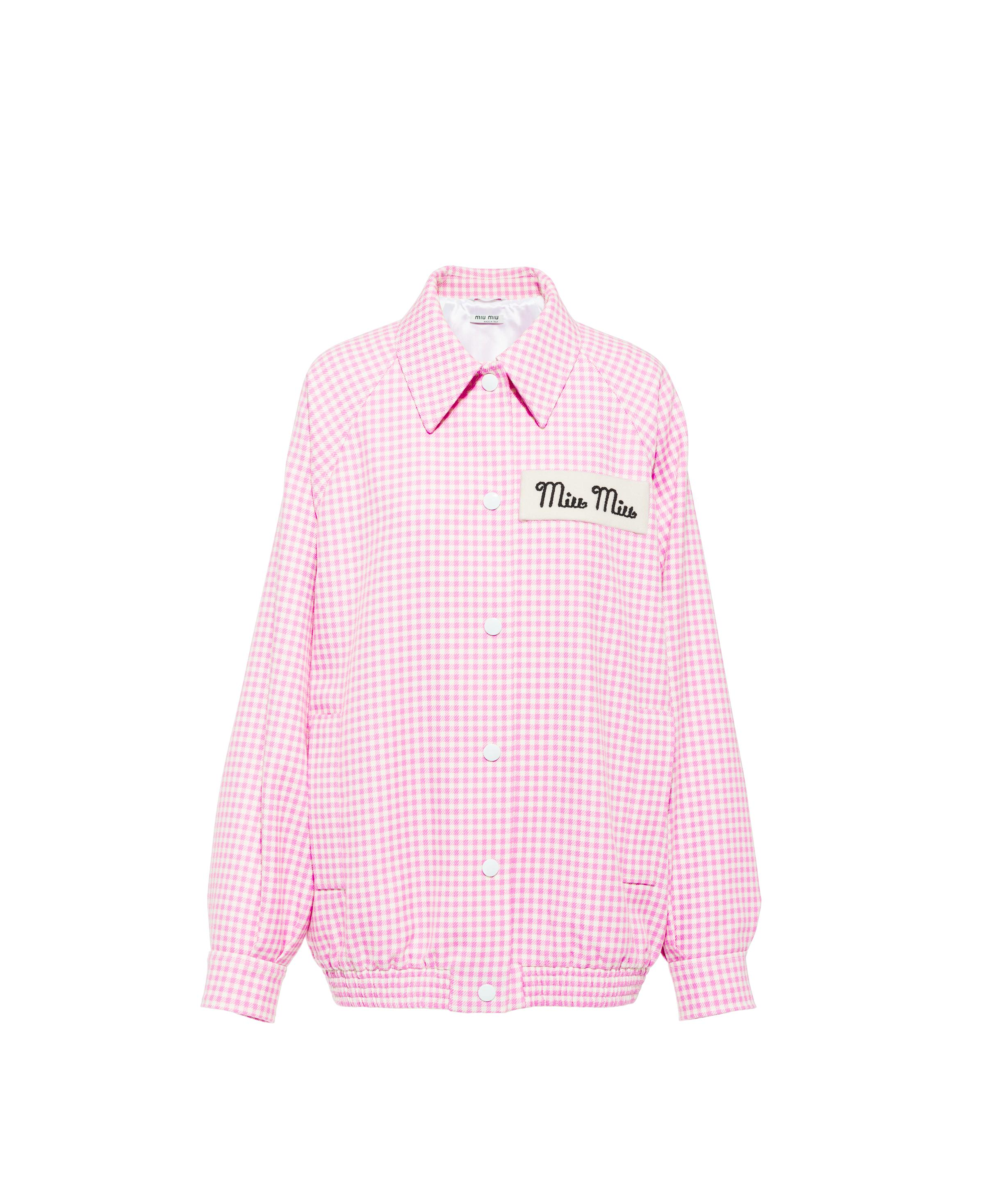 Gingham Check Twill Jacket Women Pink