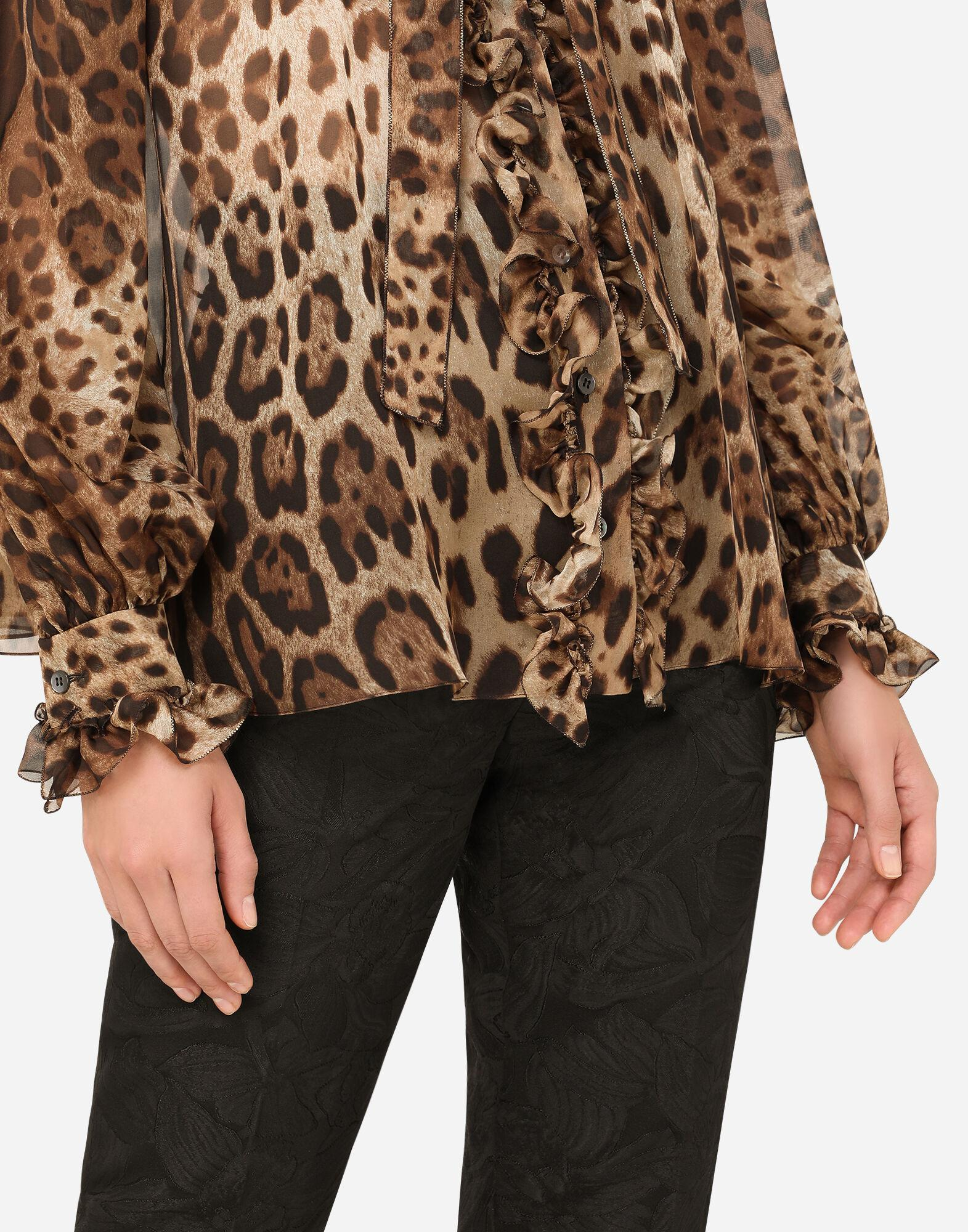 Leopard-print chiffon shirt with ruches and pussy-bow 5