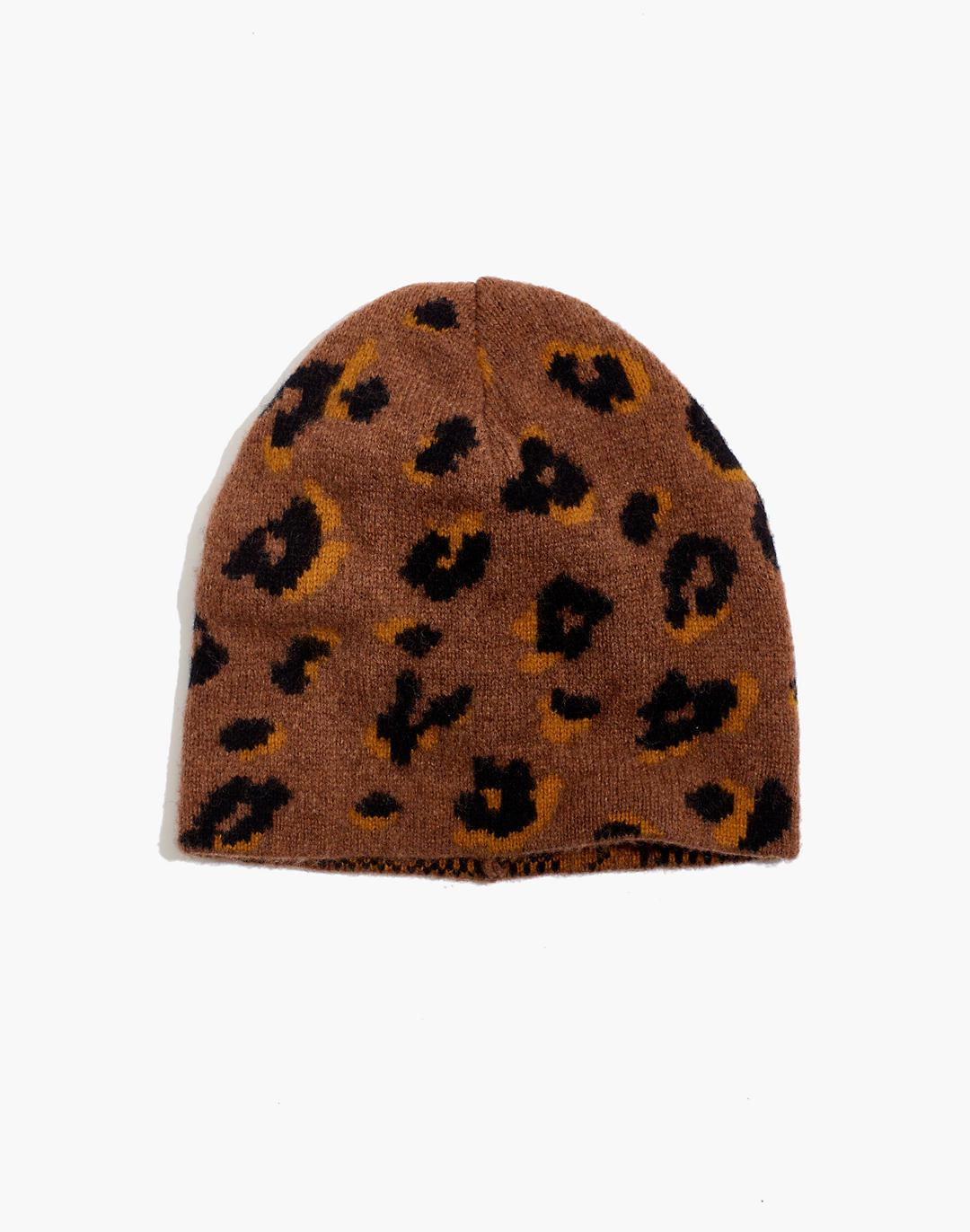 Merino Ribbed Beanie in Painted Leopard