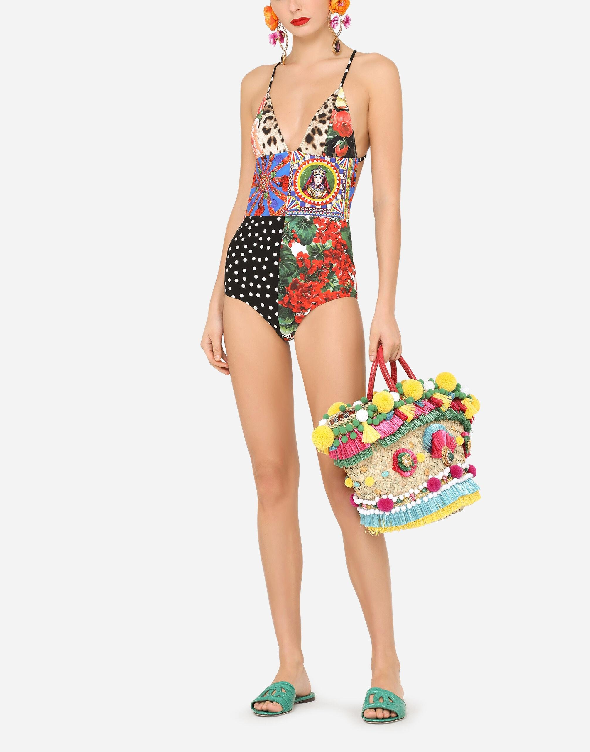 Mixed patchwork-print one-piece swimsuit