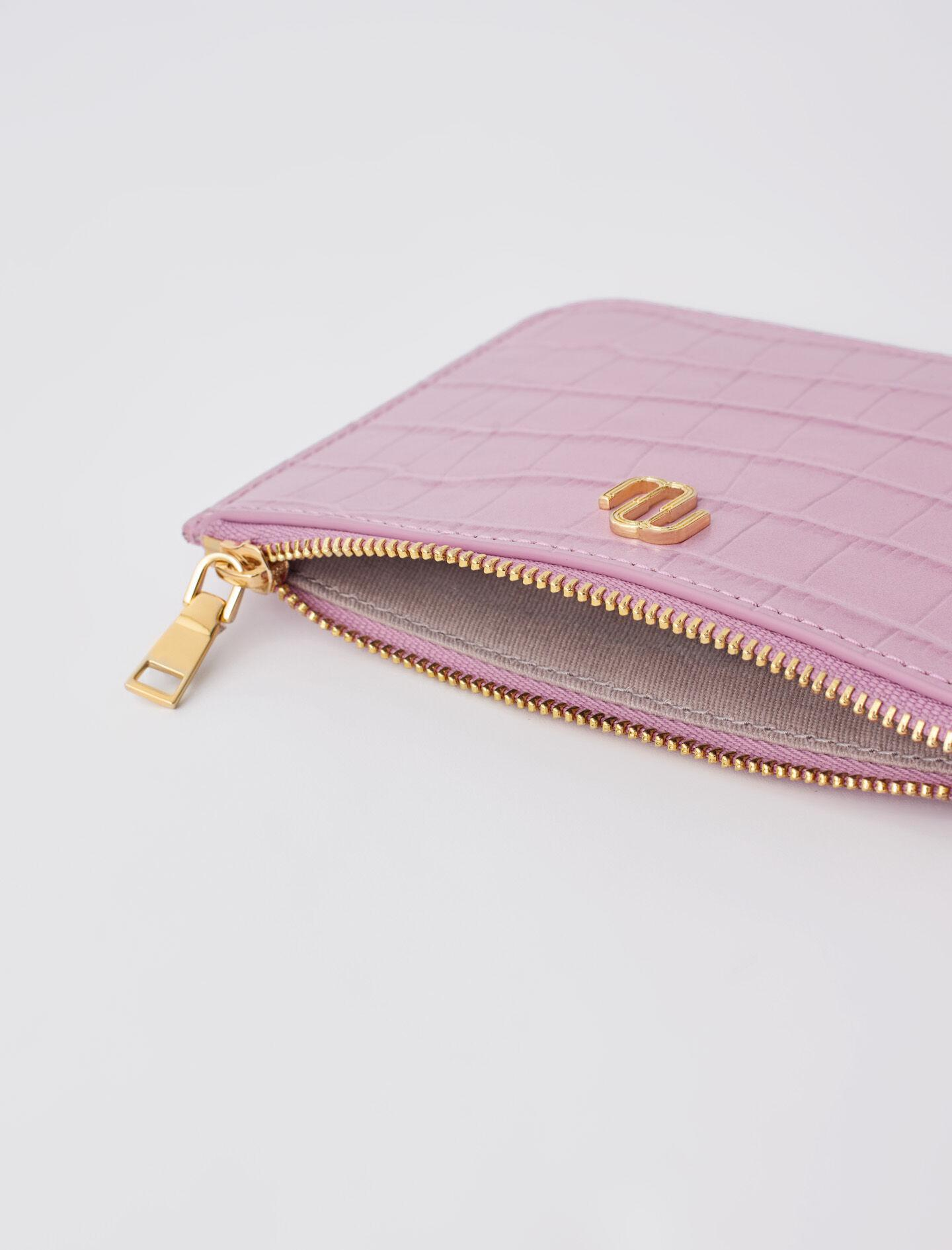 ZIP-UP EMBOSSED LEATHER POUCH 1
