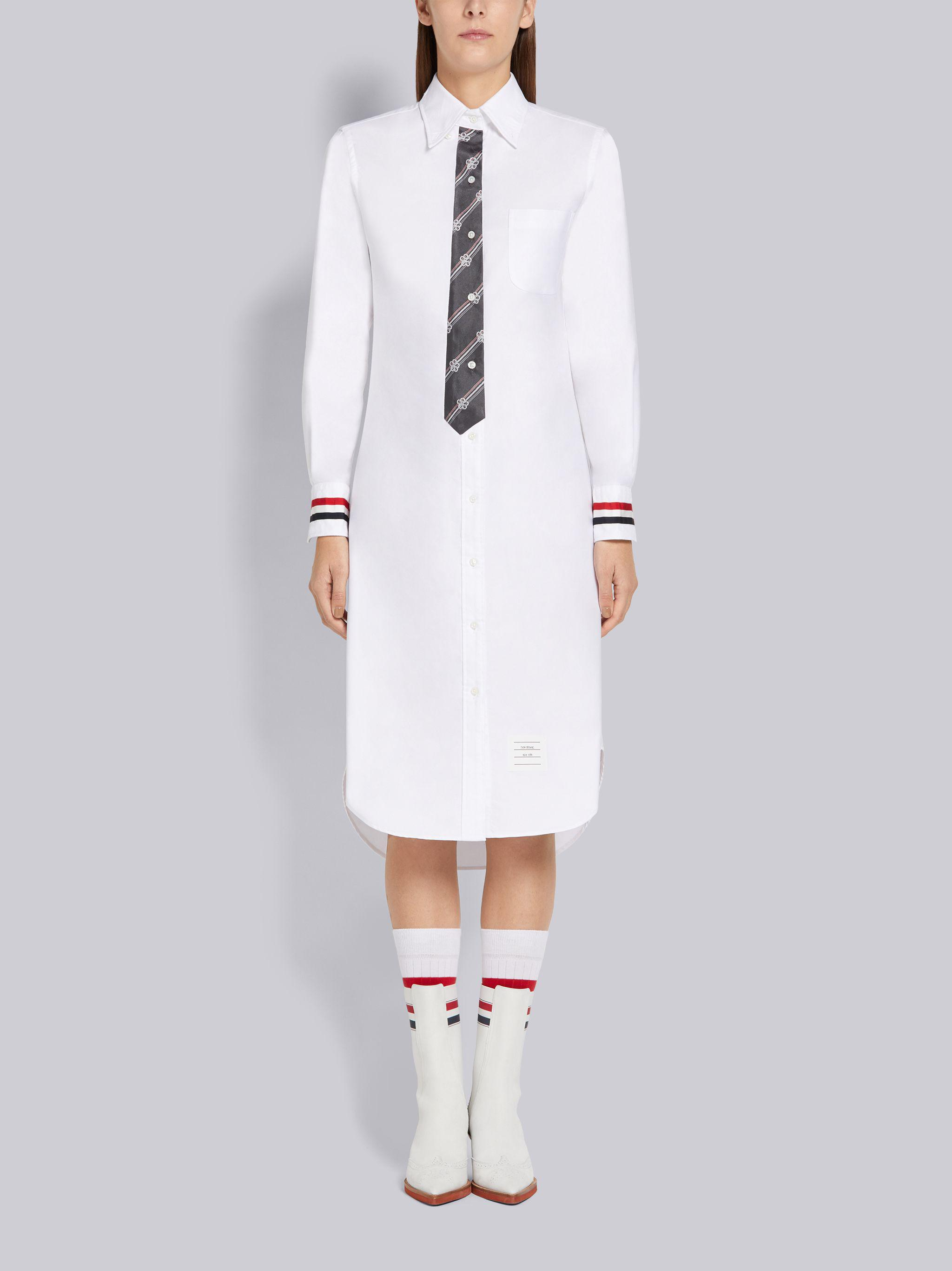 White Oxford Button Down Long-sleeved Classic Shirtdress With Tie