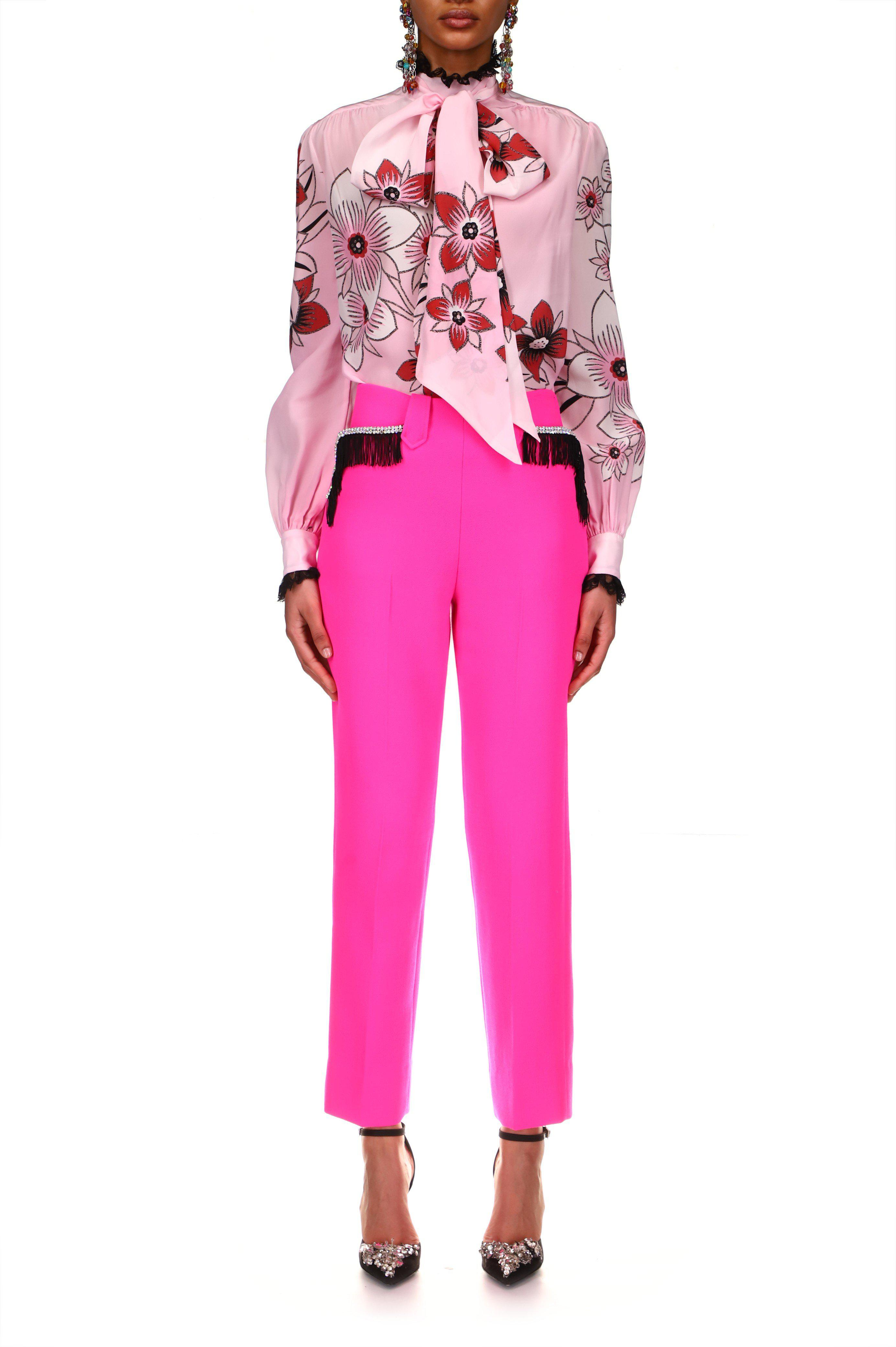 NEON PINK WOOL PANT WITH RHINESTONE AND FRINGE DETAIL