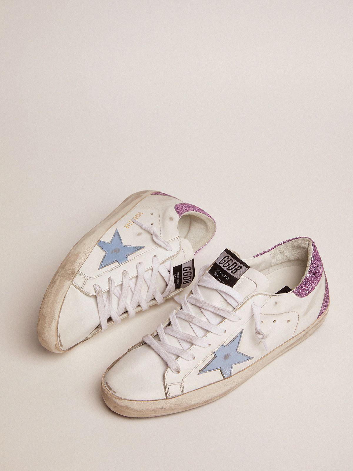 Super-Star sneakers with lavender glitter heel tab and light-blue metallic leather star 1