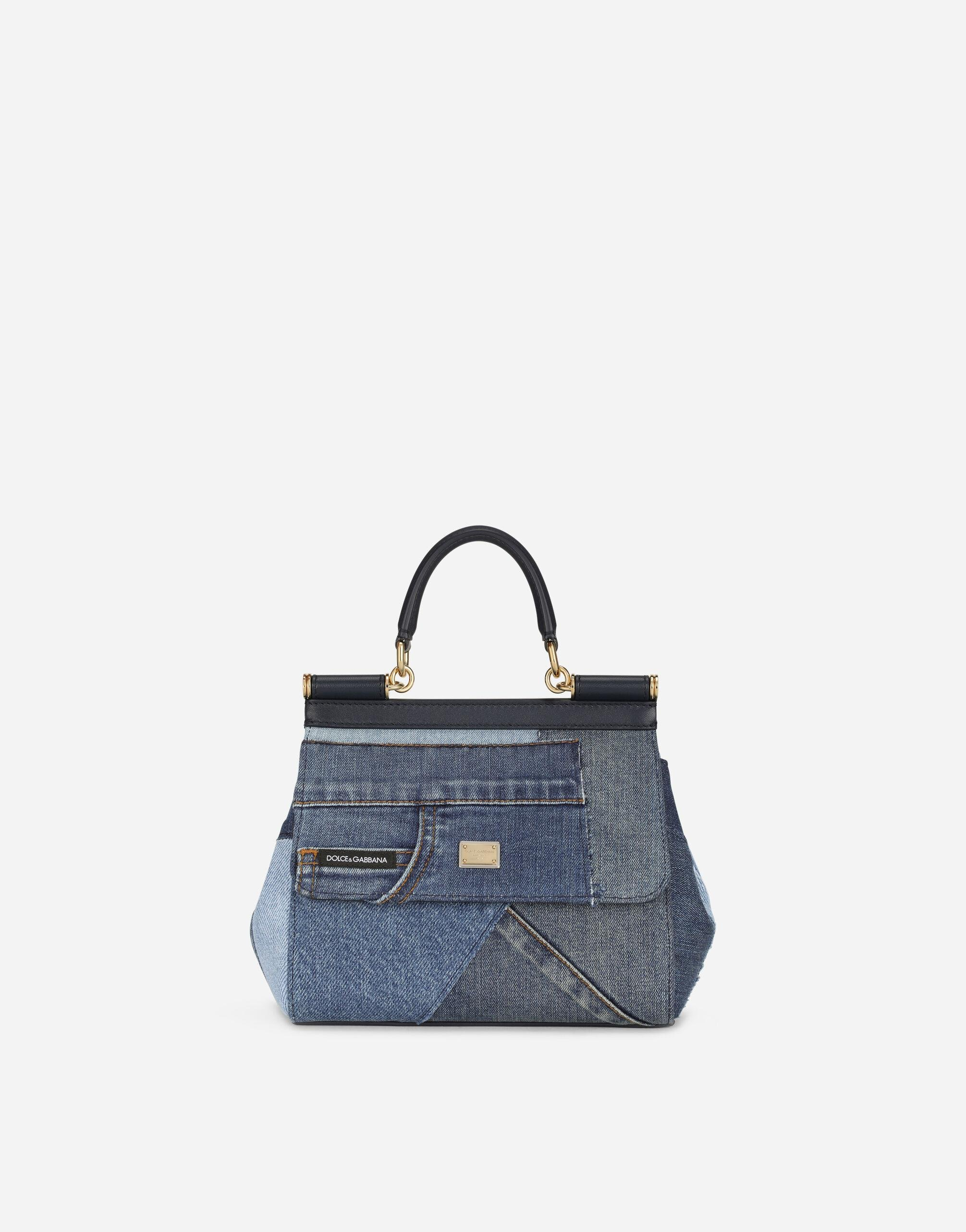 Small Sicily bag in patchwork denim and calfskin