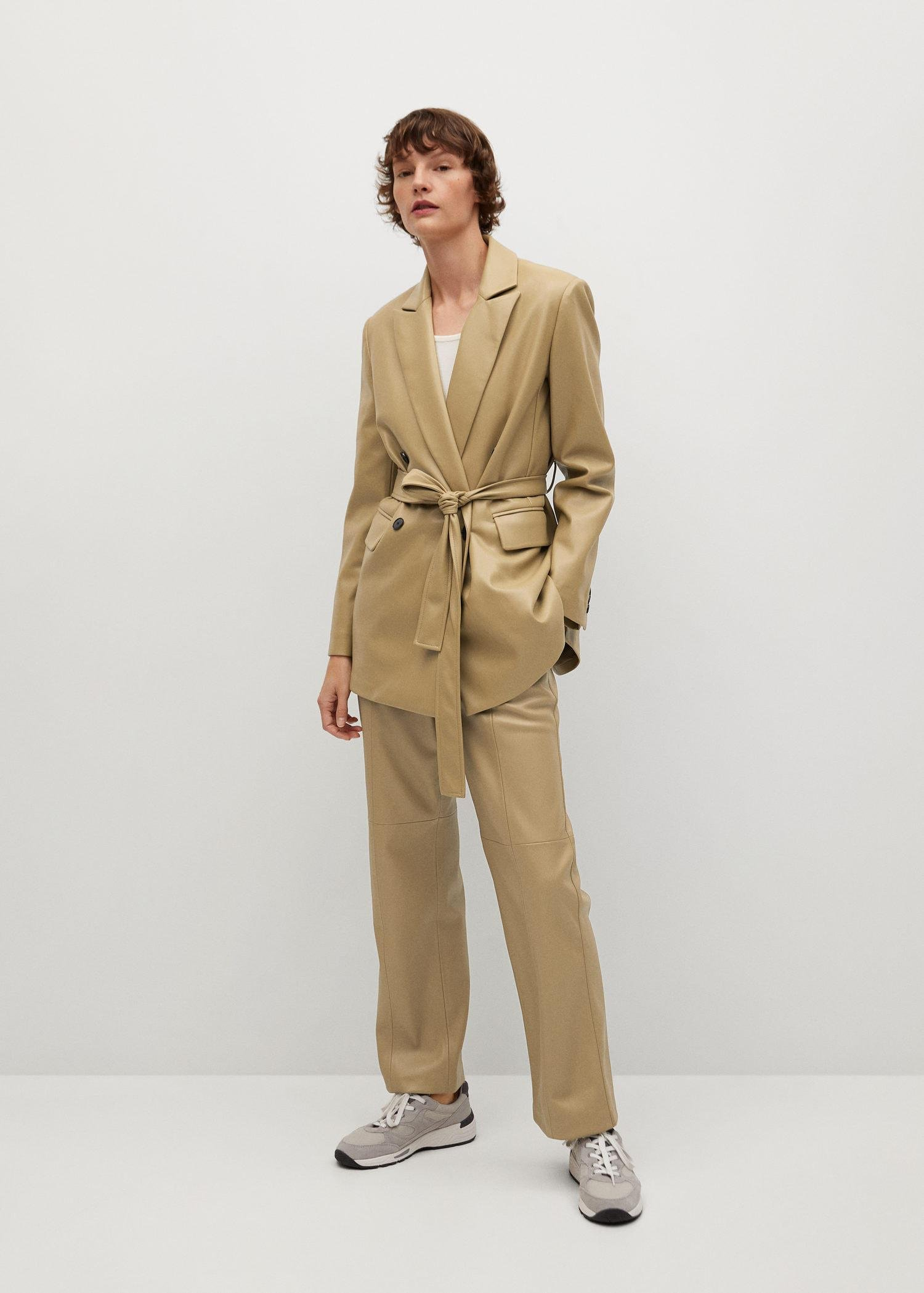 Leather-effect straight trousers 1