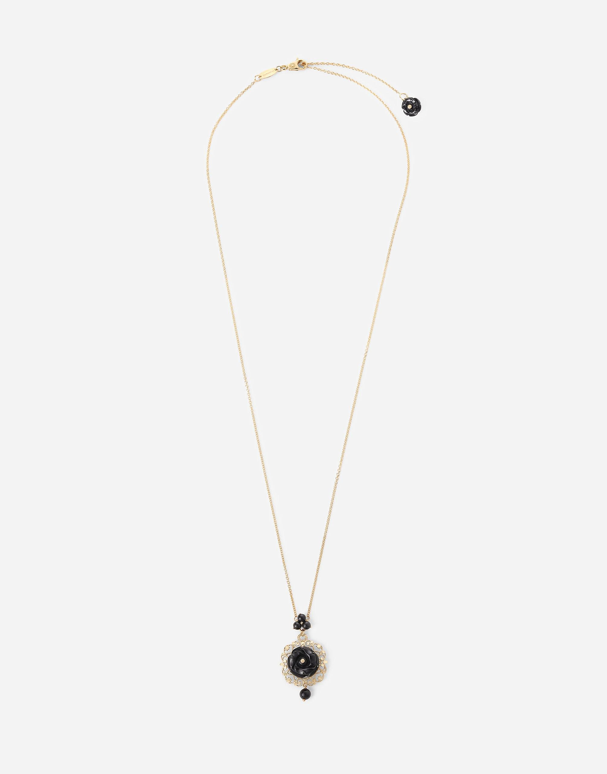 Rose necklace in yellow 18kt gold with black jade rose