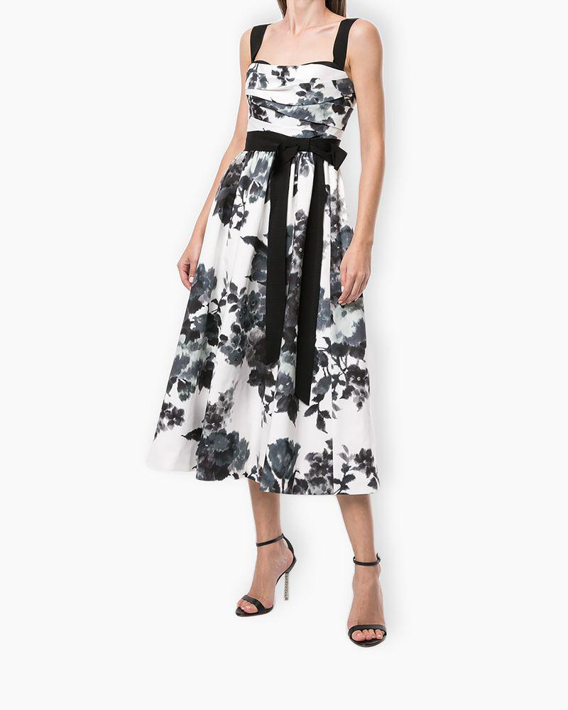Floral A-Line Dress with Bow