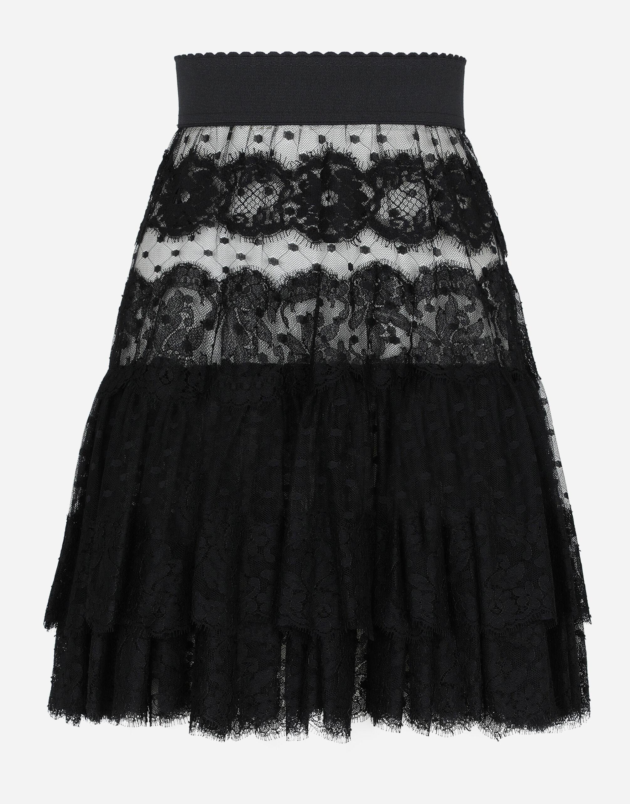 Ruffled tulle and lace midi skirt 5
