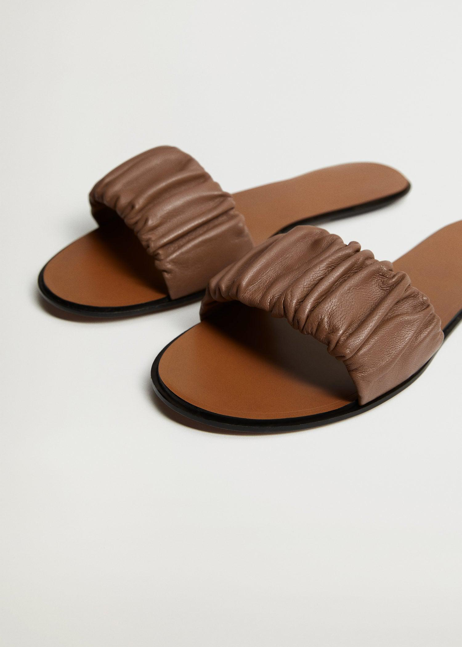 Ruched leather sandals 3