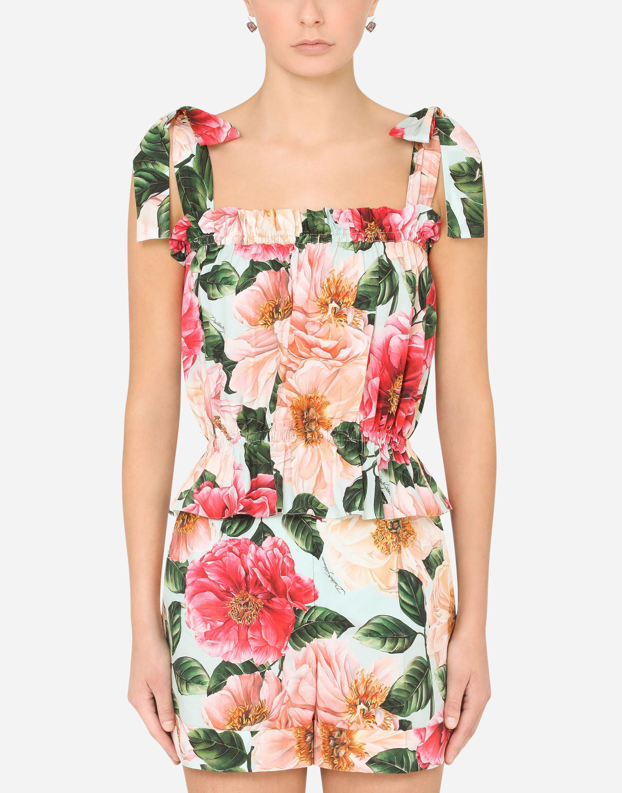 Camellia-print poplin top with bows