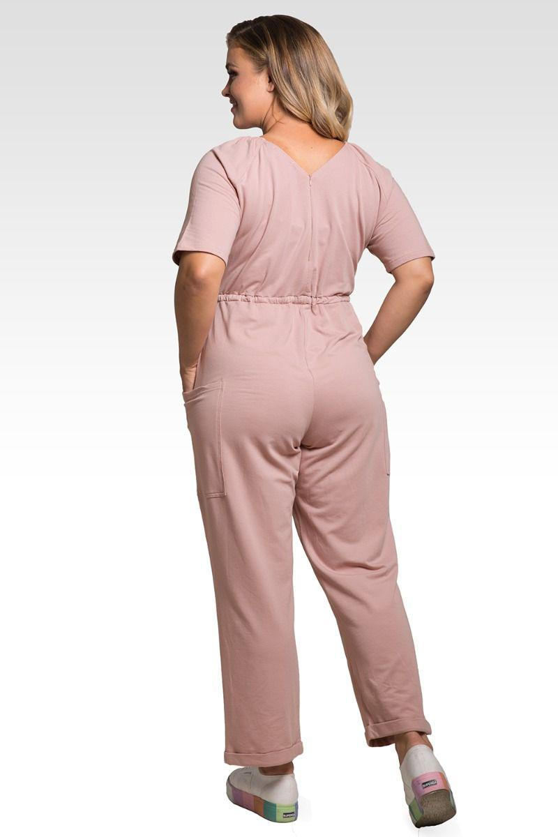 Wendy Plus Size French Terry Mauve Pink Short Sleeve Sweat Lounge Jumpsuit