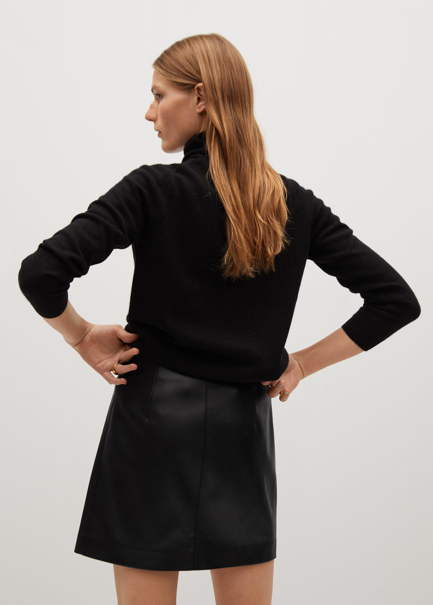 Knot leather-effect mini skirt 2