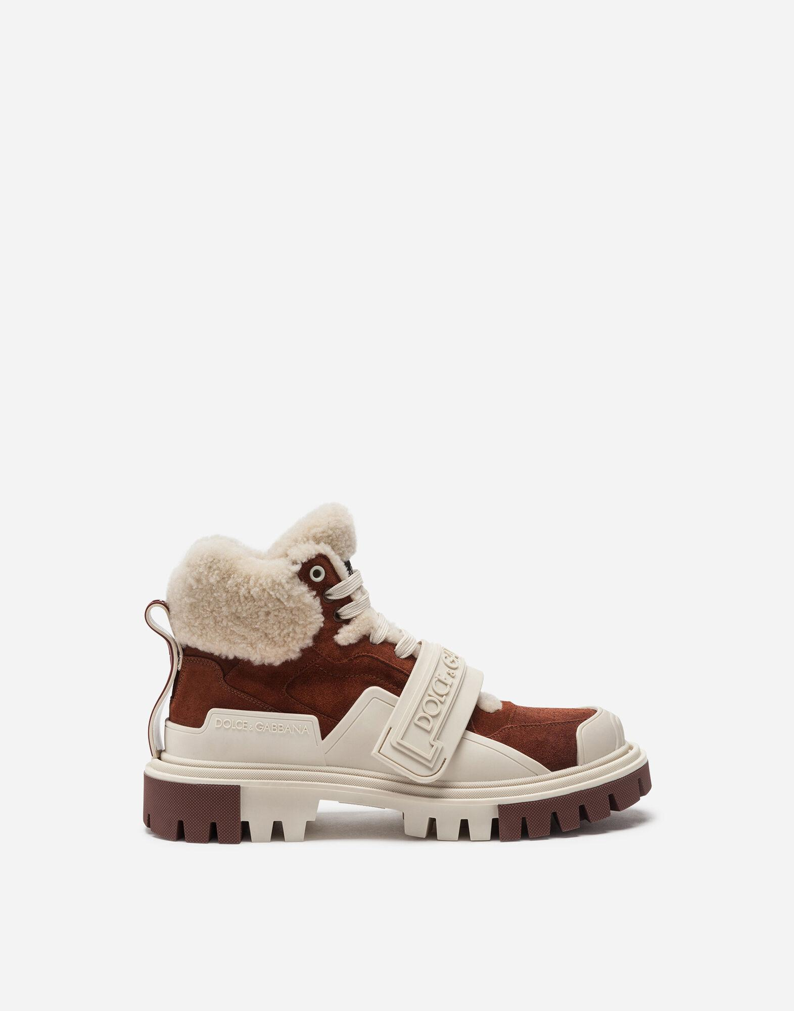 Split-grain leather and shearling trekking shoes with logo
